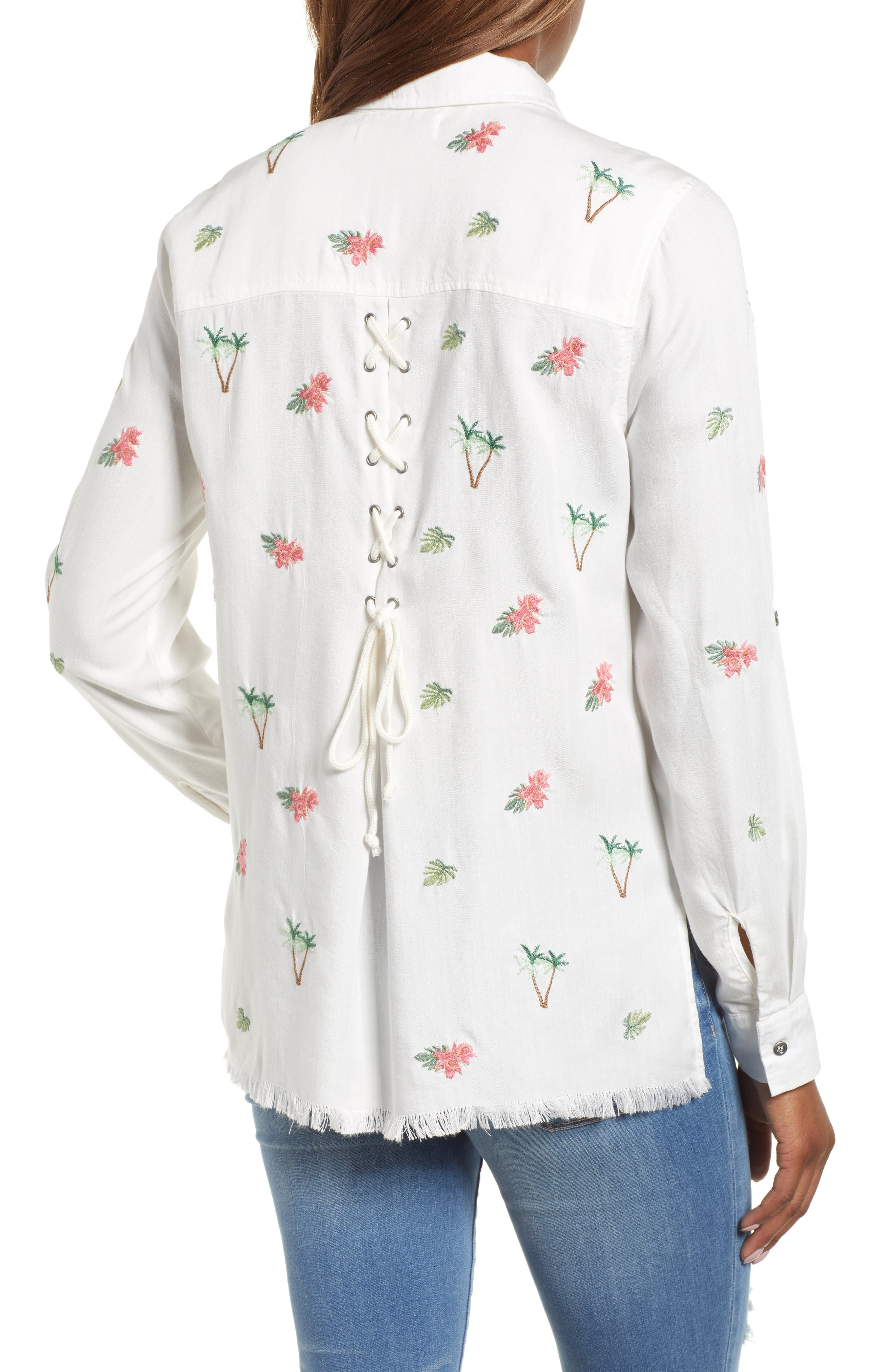 Laced Back Button Up Shirt,                             Alternate thumbnail 2, color,                             100