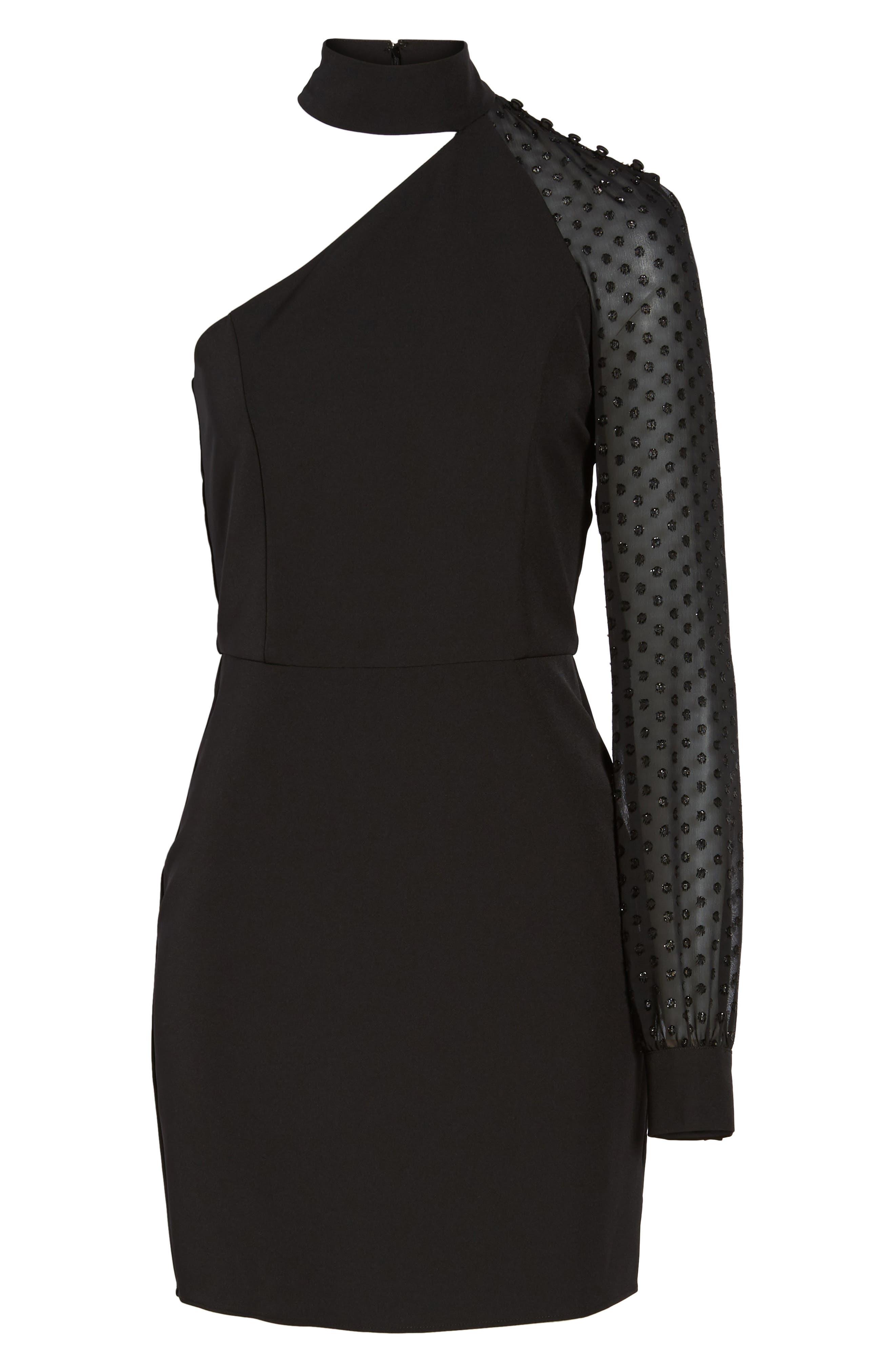 Layne One-Shoulder Dress,                             Alternate thumbnail 6, color,                             001