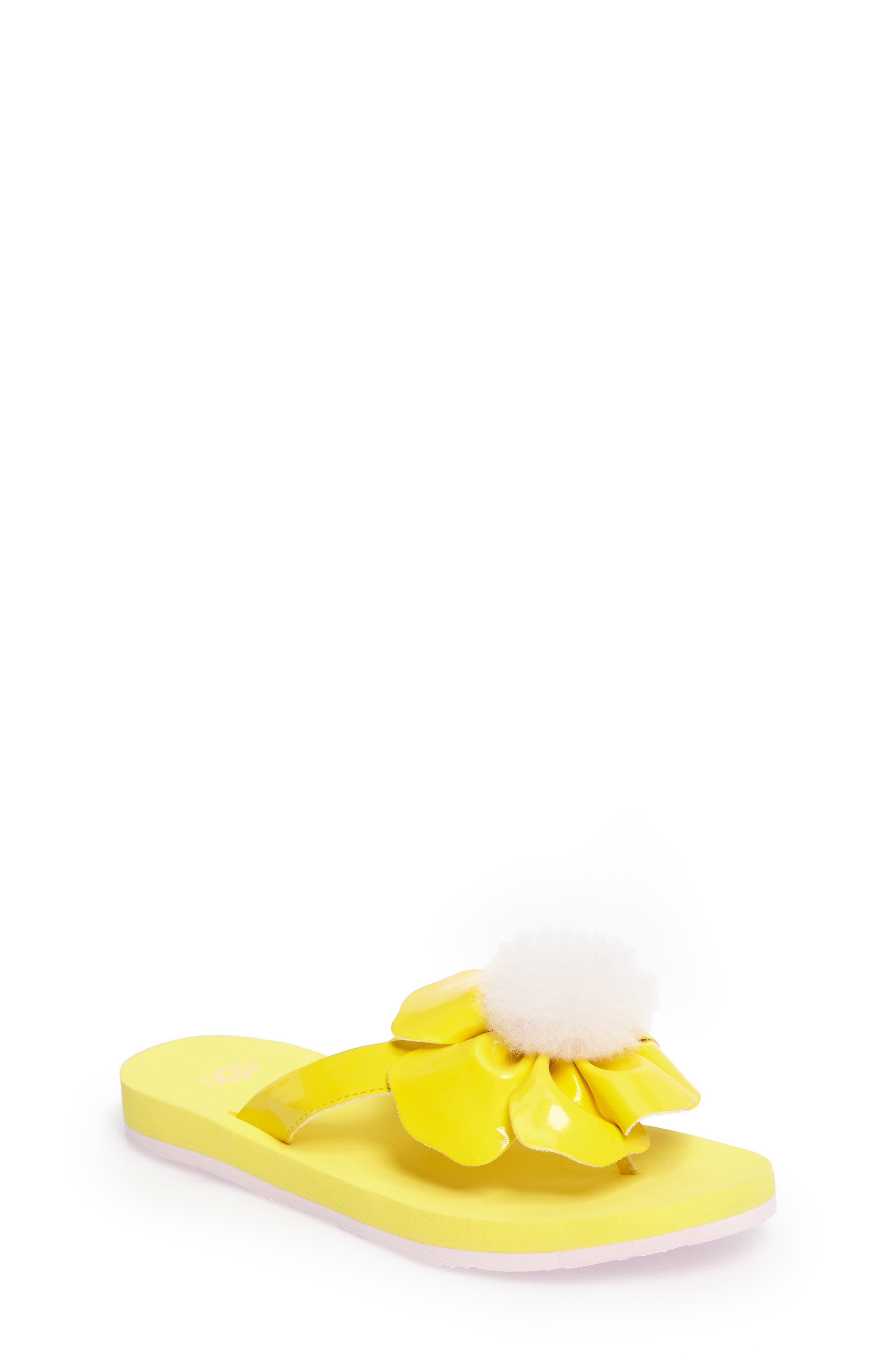 Poppy Genuine Shearling Flip Flop,                             Main thumbnail 3, color,