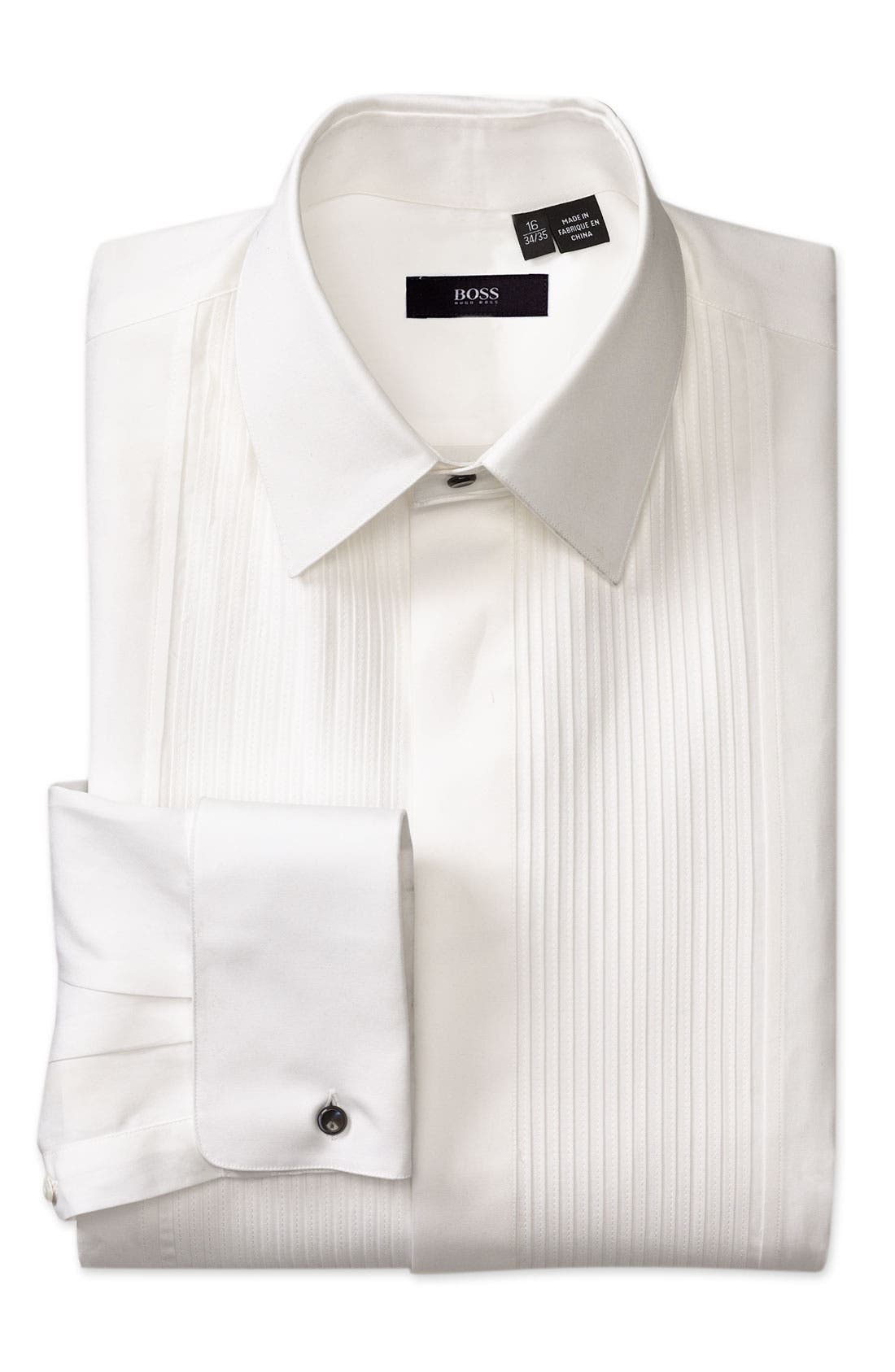 Black Classic Fit Tuxedo Shirt,                             Main thumbnail 1, color,                             100
