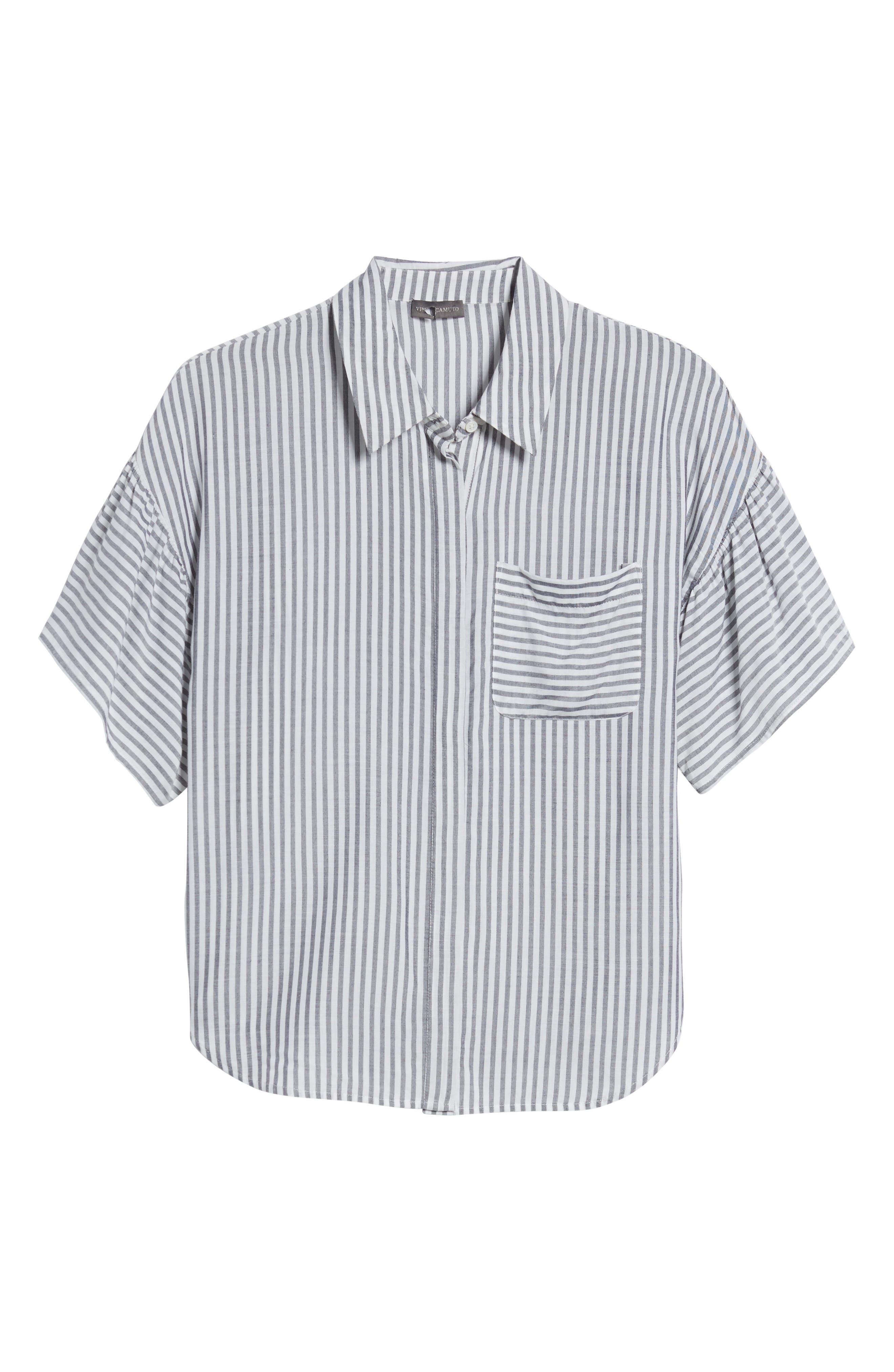 Drop Shoulder Flutter Sleeve Stripe Shirt,                             Alternate thumbnail 7, color,                             430