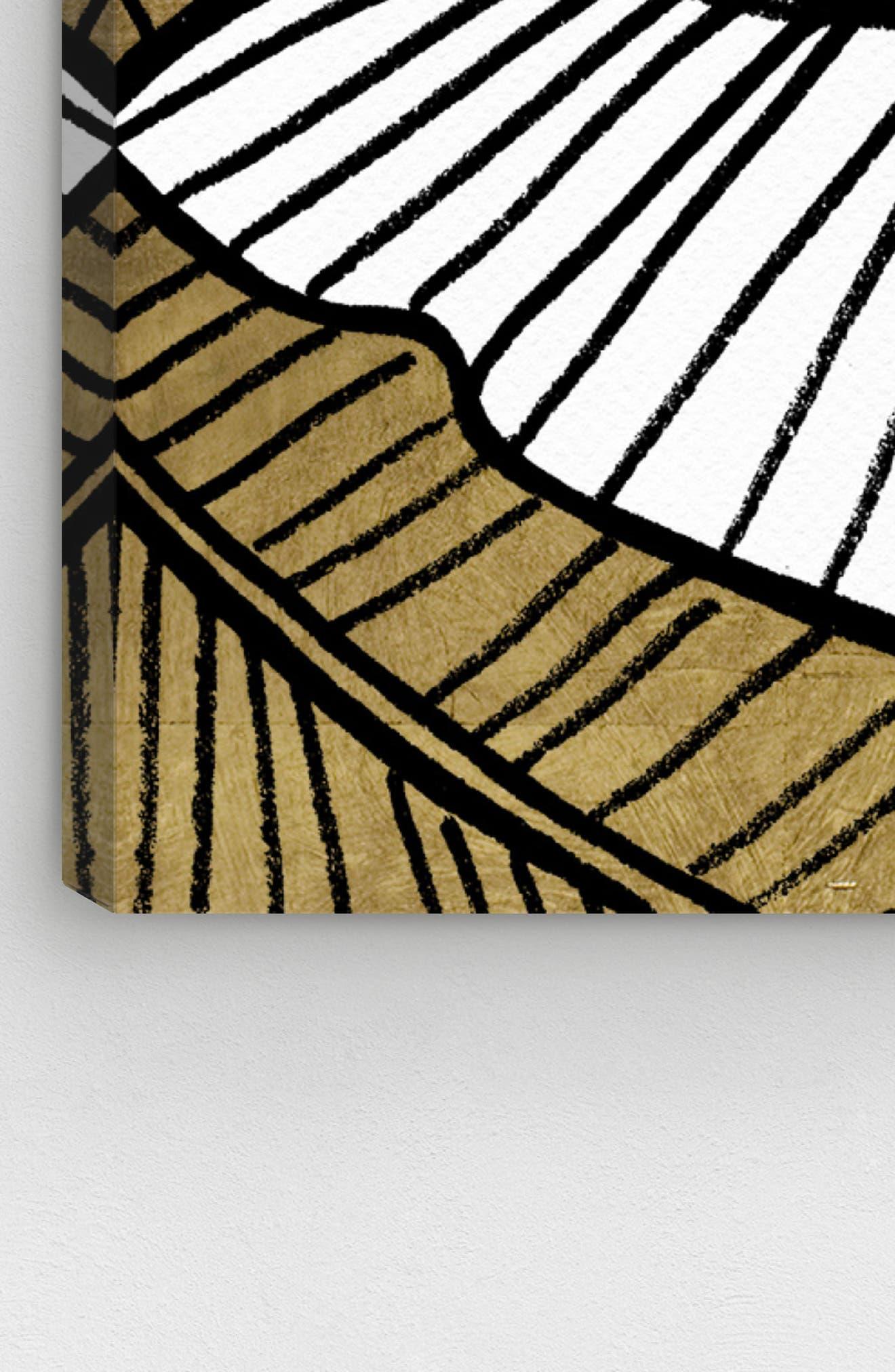 Golden Leaf Canvas Wall Art,                             Alternate thumbnail 4, color,                             BLACK WHITE GOLD