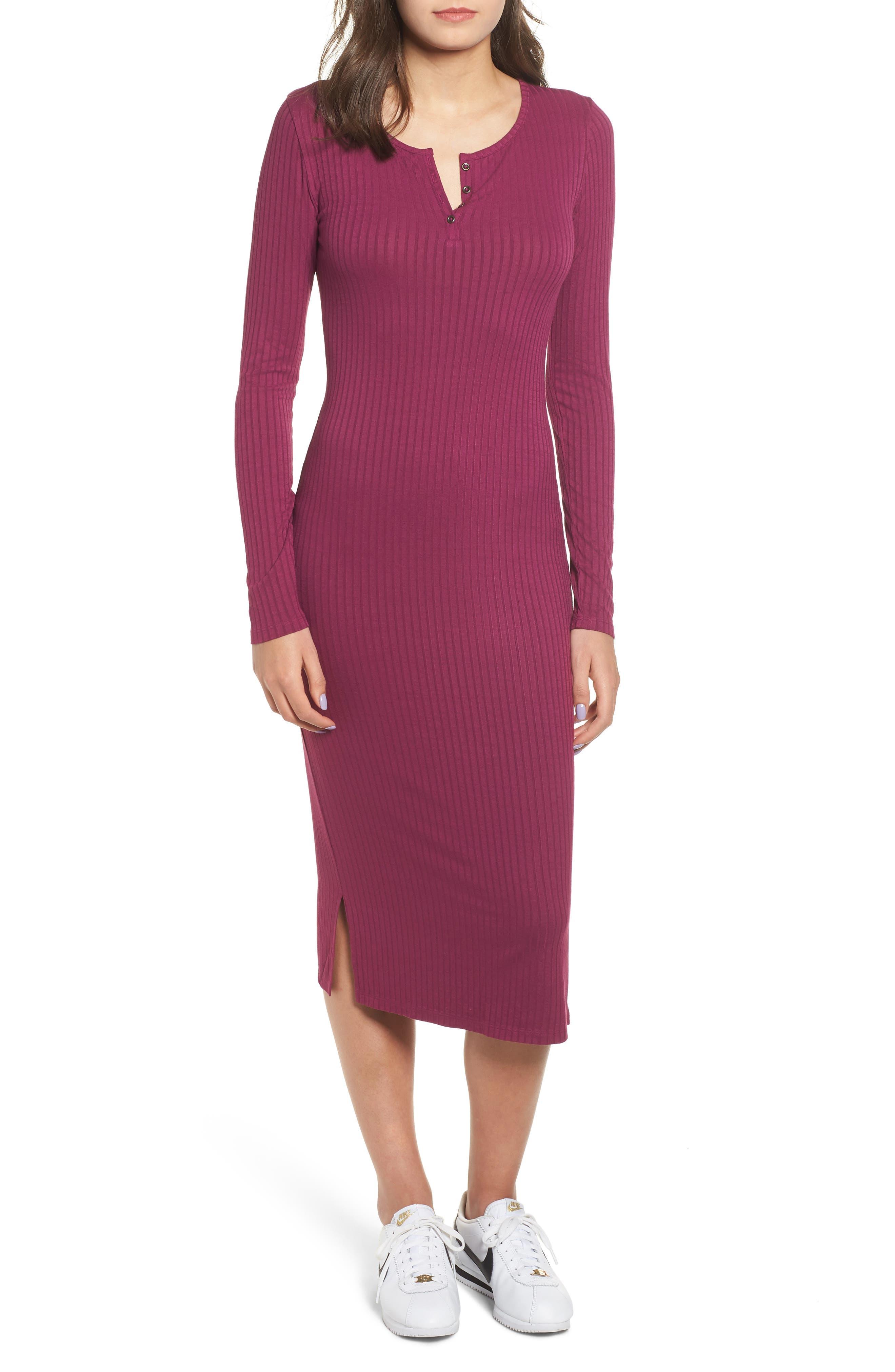 Ribbed Henley Midi Dress,                         Main,                         color, PURPLE MAGENTA
