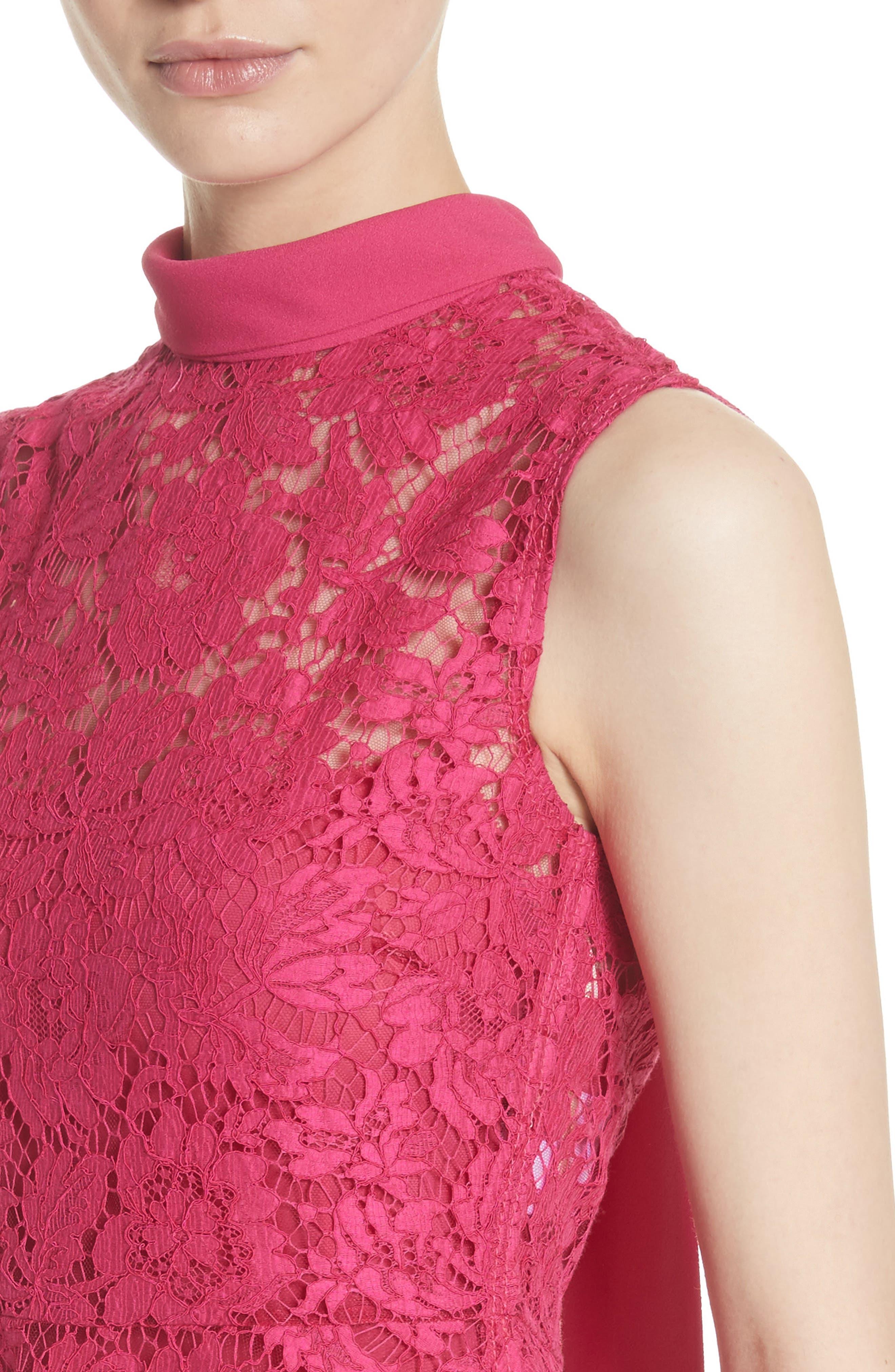 Tie Neck Guipure Lace Dress,                             Alternate thumbnail 4, color,                             650
