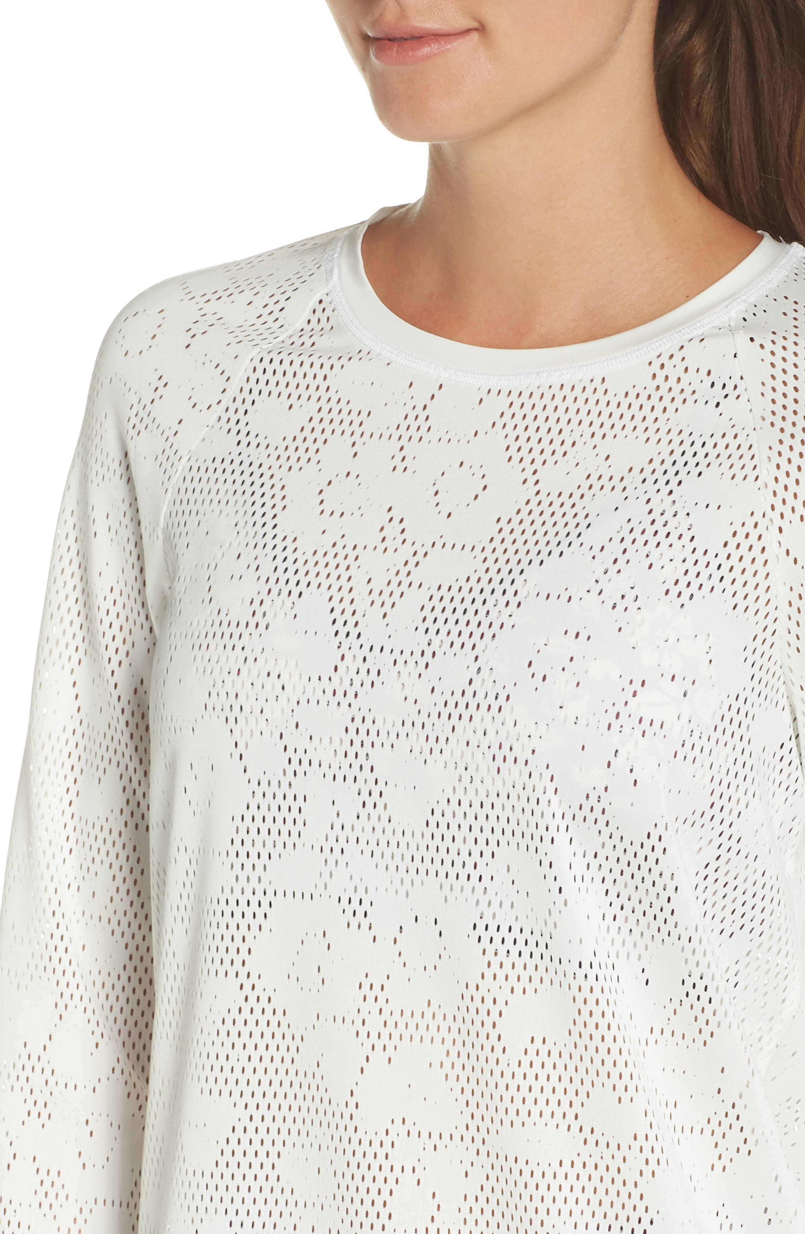 floral mesh top,                             Alternate thumbnail 4, color,                             CREAM