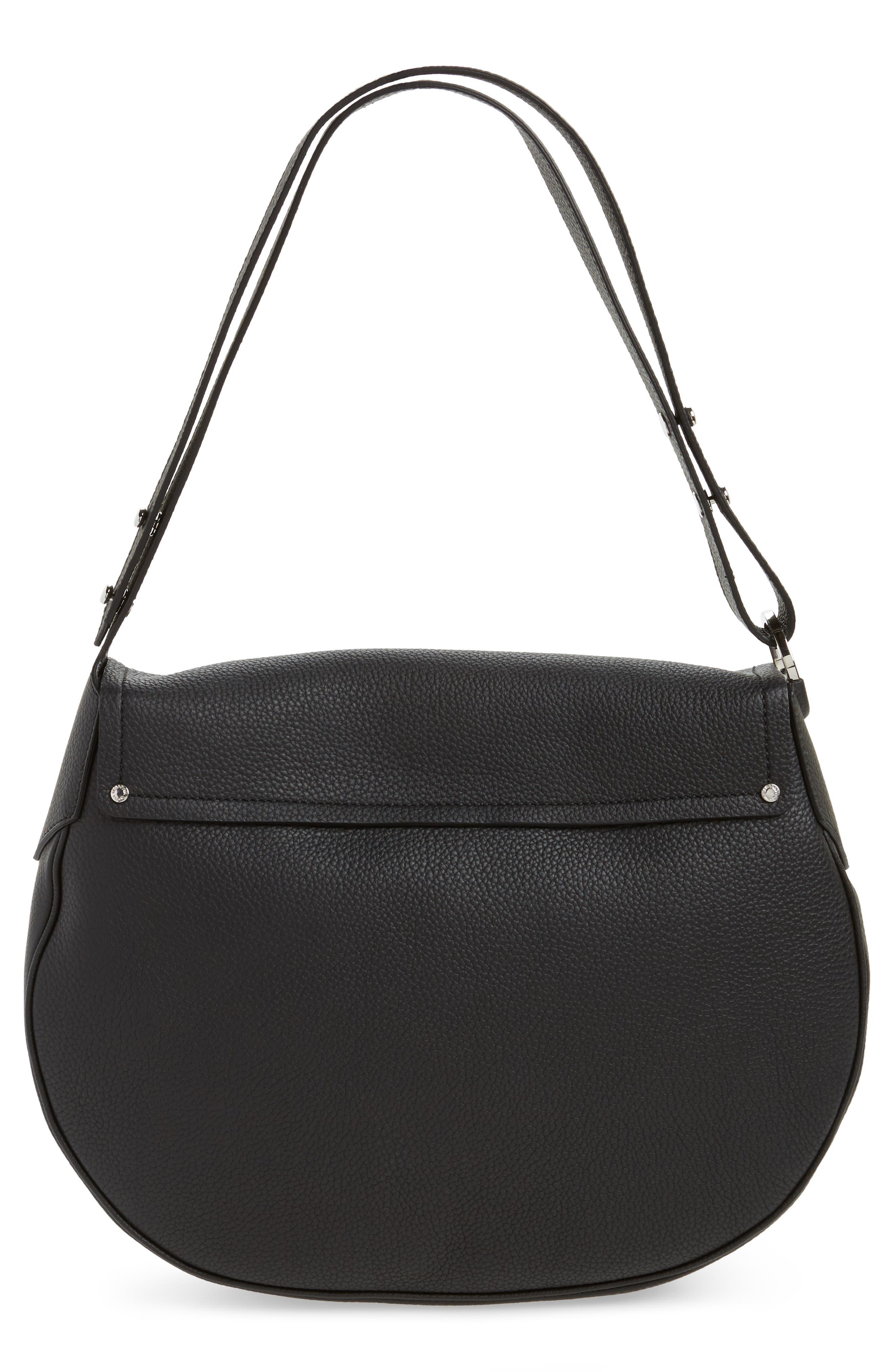 Valeria Cachemire Leather Saddle Bag,                             Alternate thumbnail 3, color,                             001