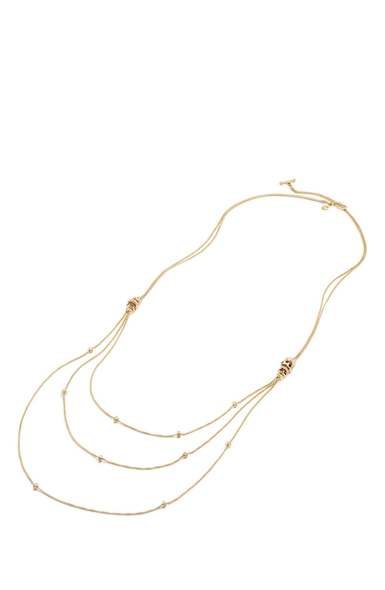 Stax 18K Gold Chain Necklace with Diamonds,                             Alternate thumbnail 2, color,                             BLACK SPINEL