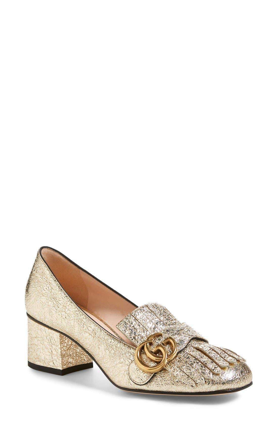 GG Marmont Pump,                             Main thumbnail 1, color,                             GOLD LEATHER
