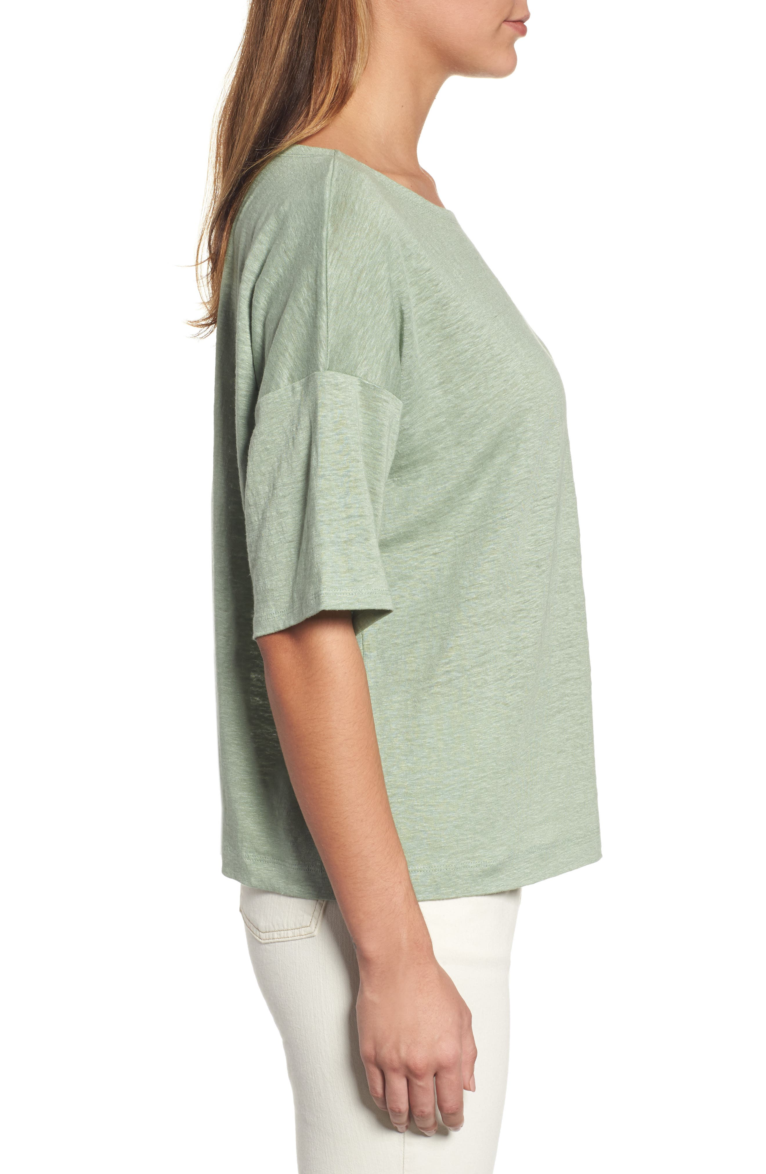 Organic Linen Jersey Boxy Top,                             Alternate thumbnail 18, color,