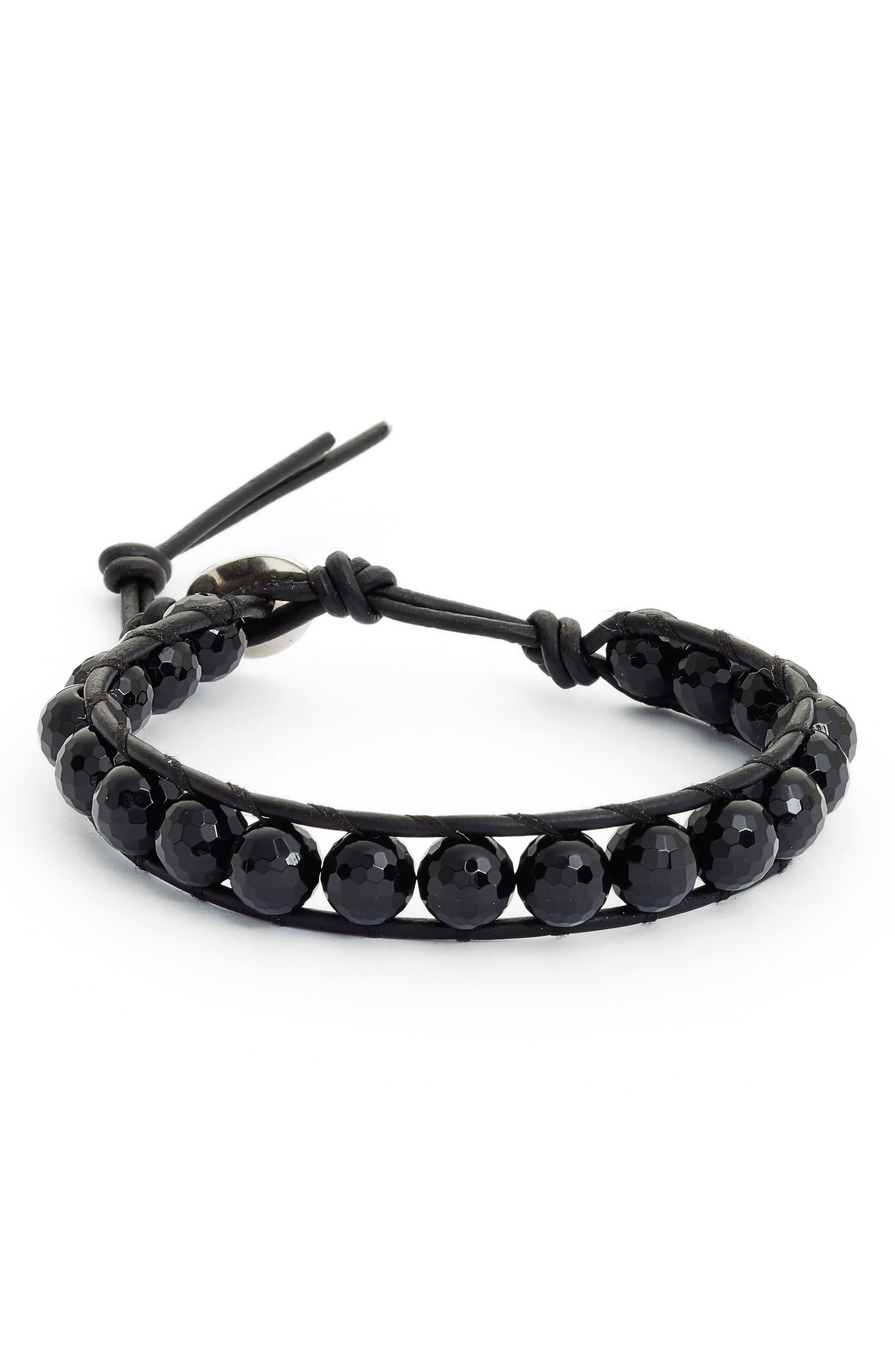 Single Wrap Bracelet,                             Main thumbnail 1, color,                             ONYX