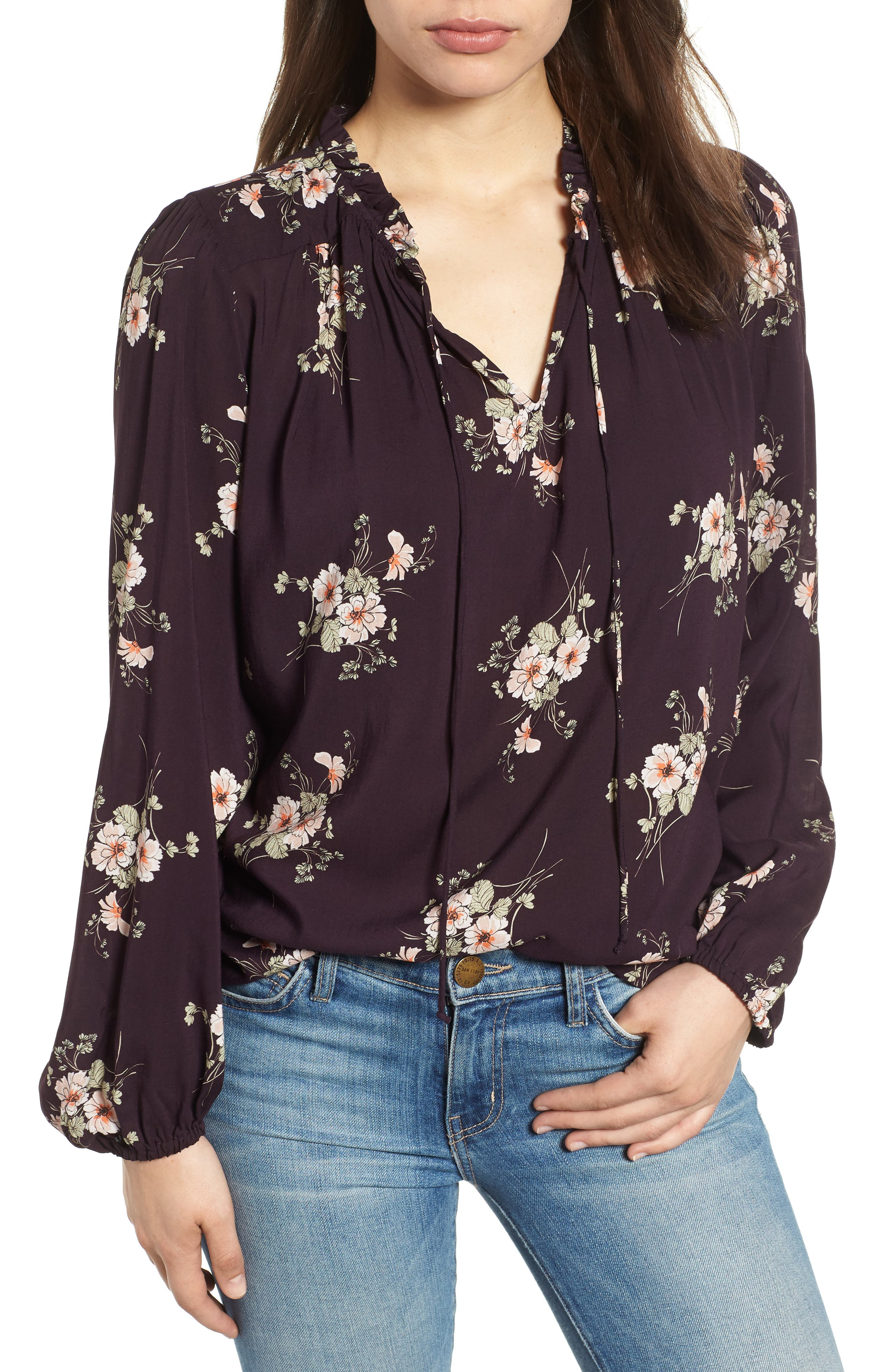 Printed Challis Blouse,                         Main,                         color, 515