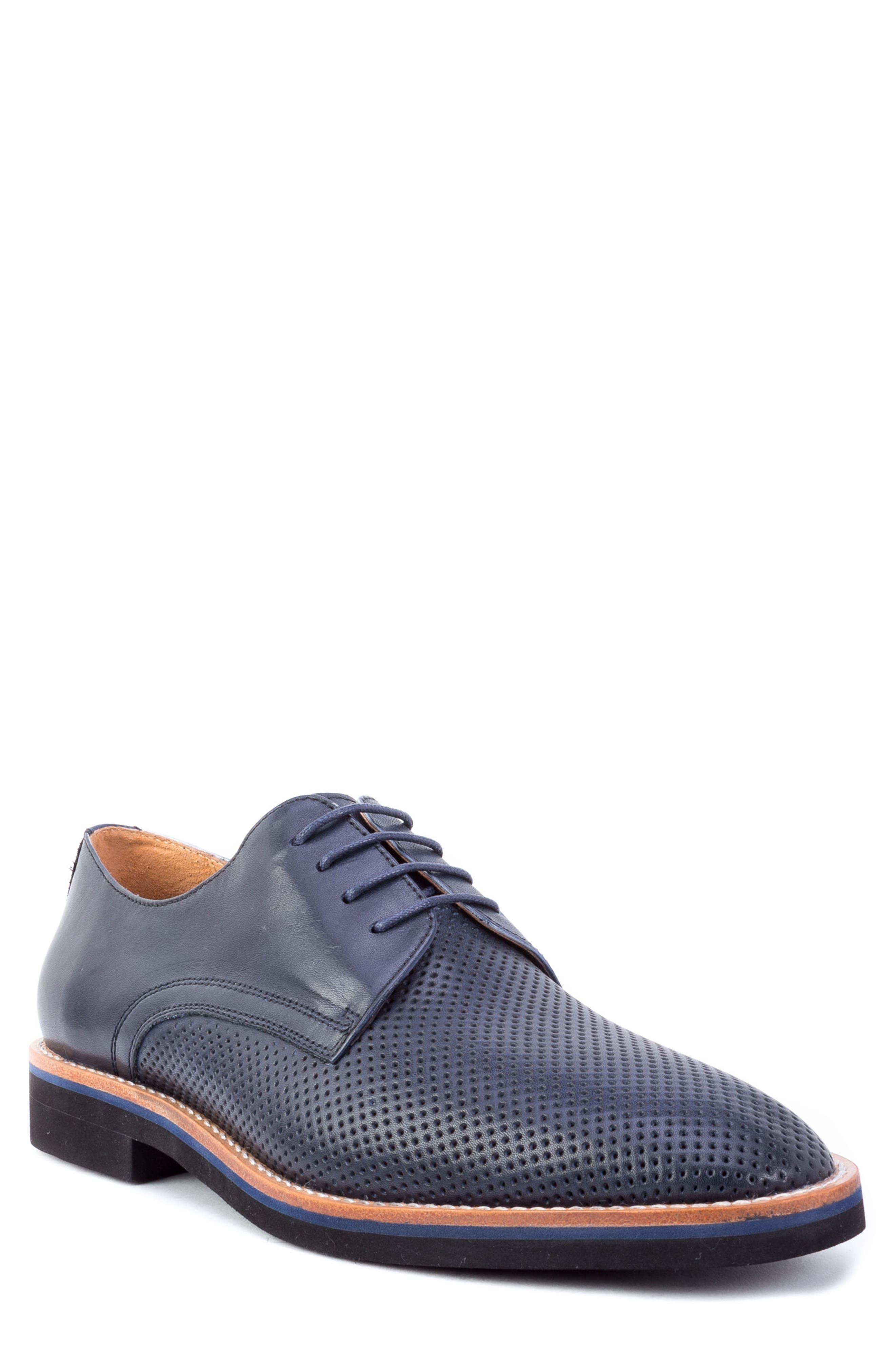 Hartung Perforated Plain Toe Derby,                             Main thumbnail 1, color,                             NAVY LEATHER