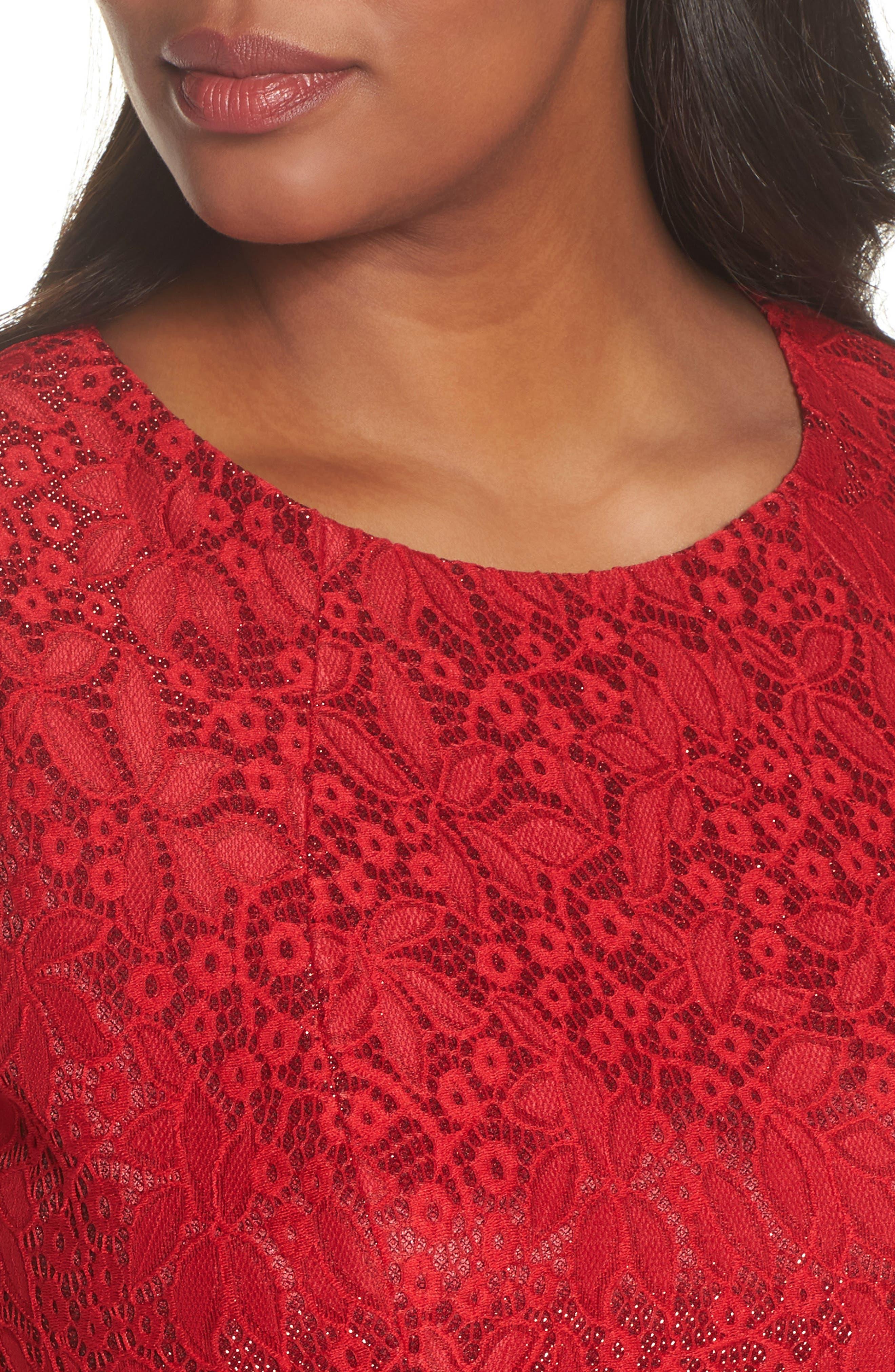 Shimmer Lace Sheath Dress,                             Alternate thumbnail 4, color,                             620