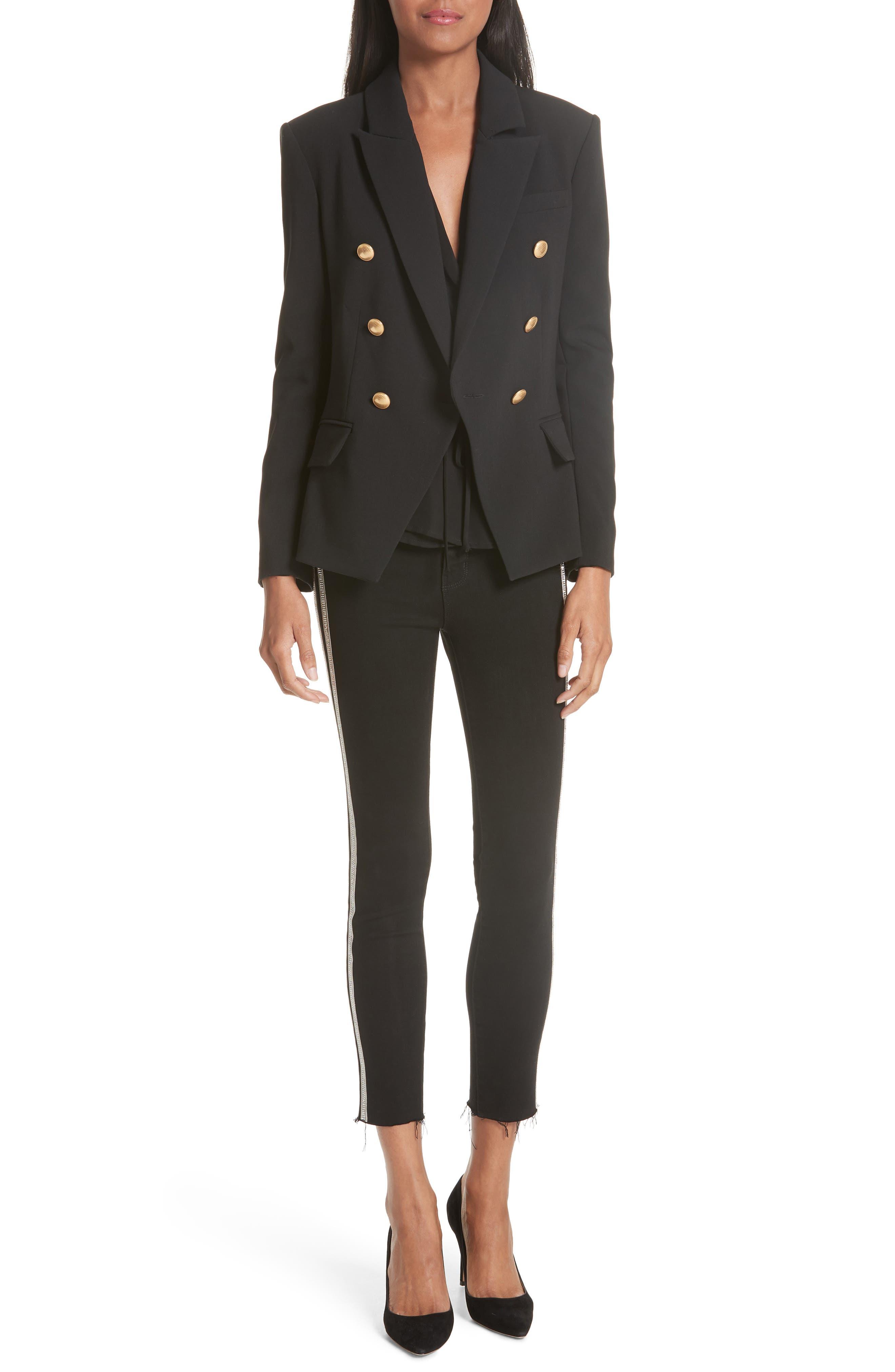 L'AGENCE,                             Margot Embellished Side Stripe Crop Skinny Jeans,                             Alternate thumbnail 7, color,                             NOIR