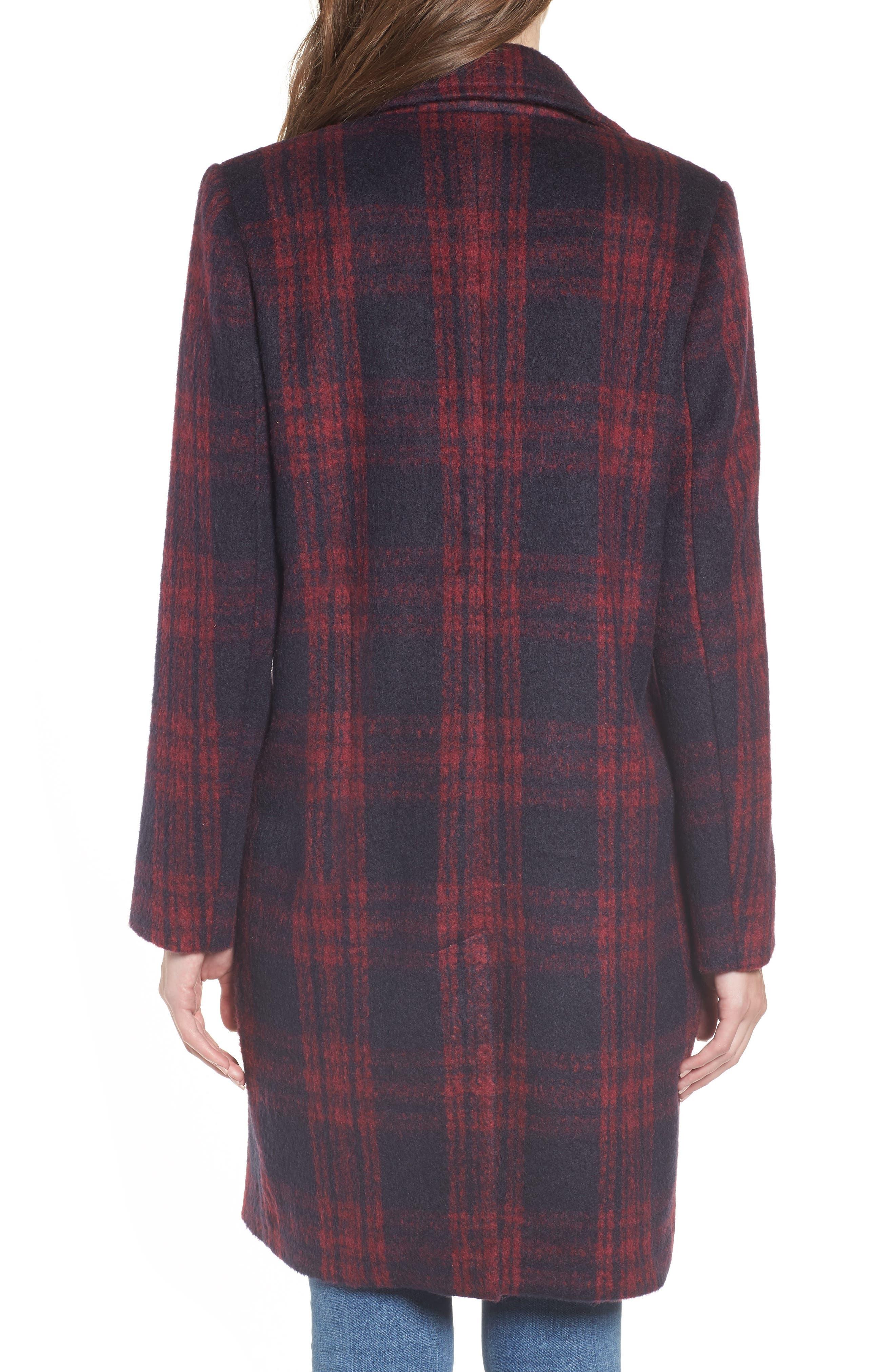 Brushed Plaid Coat,                             Alternate thumbnail 2, color,                             RED VELVET