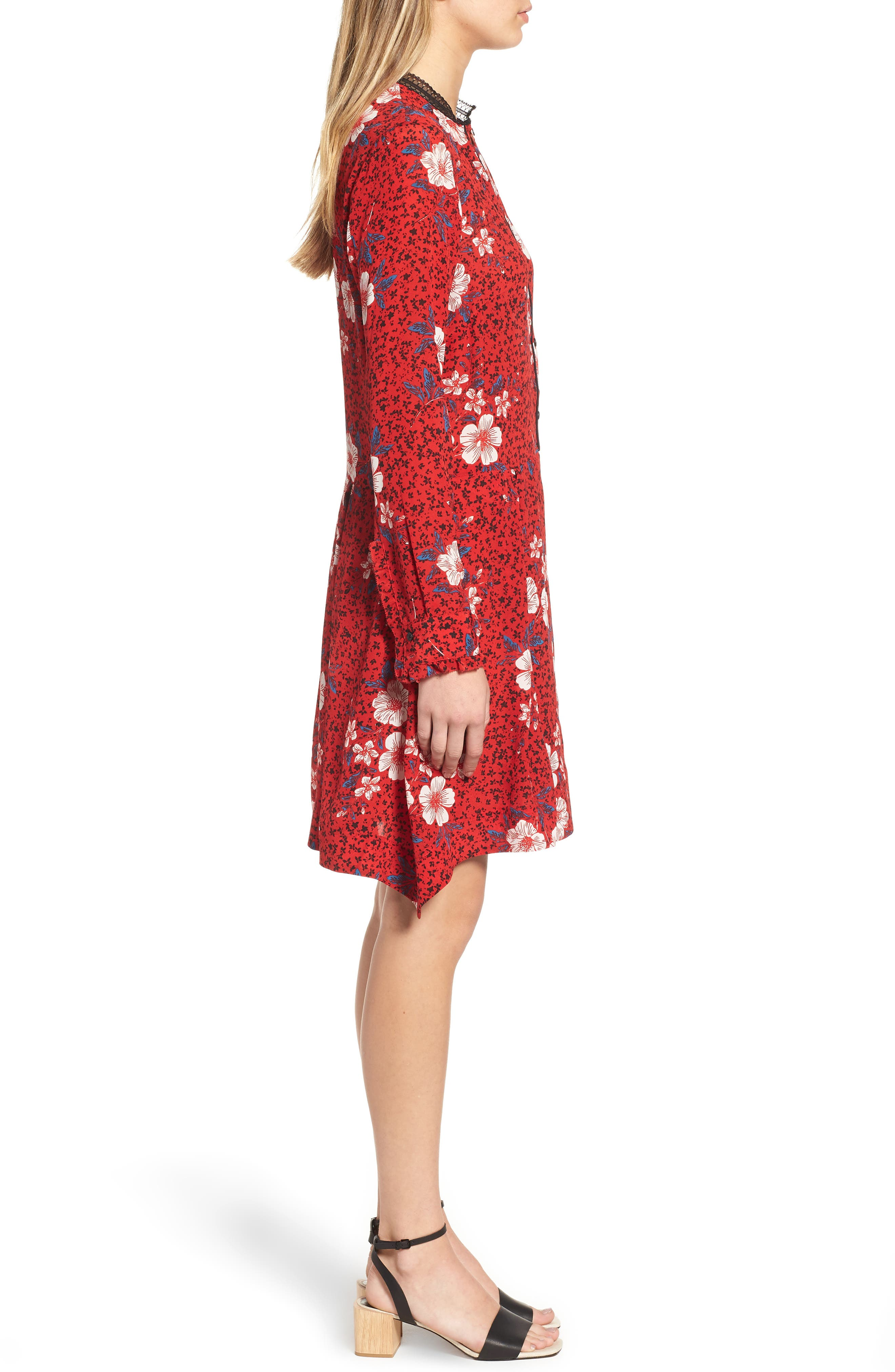 ZADIG & VOLTAIRE,                             Ruti Pensee Double Floral Silk Dress,                             Alternate thumbnail 3, color,                             648
