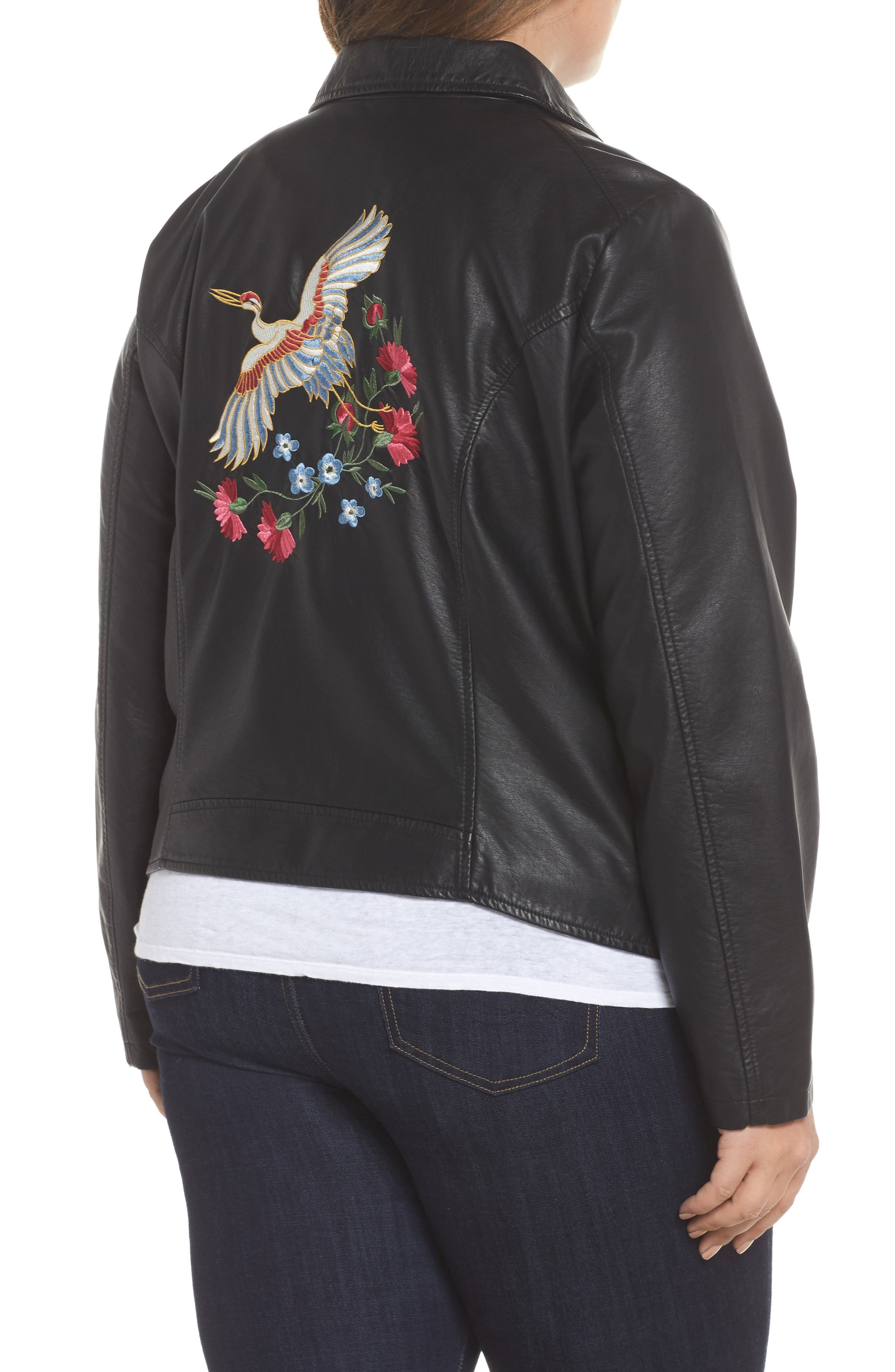 Karisa Faux Leather Moto Jacket,                             Alternate thumbnail 2, color,                             002