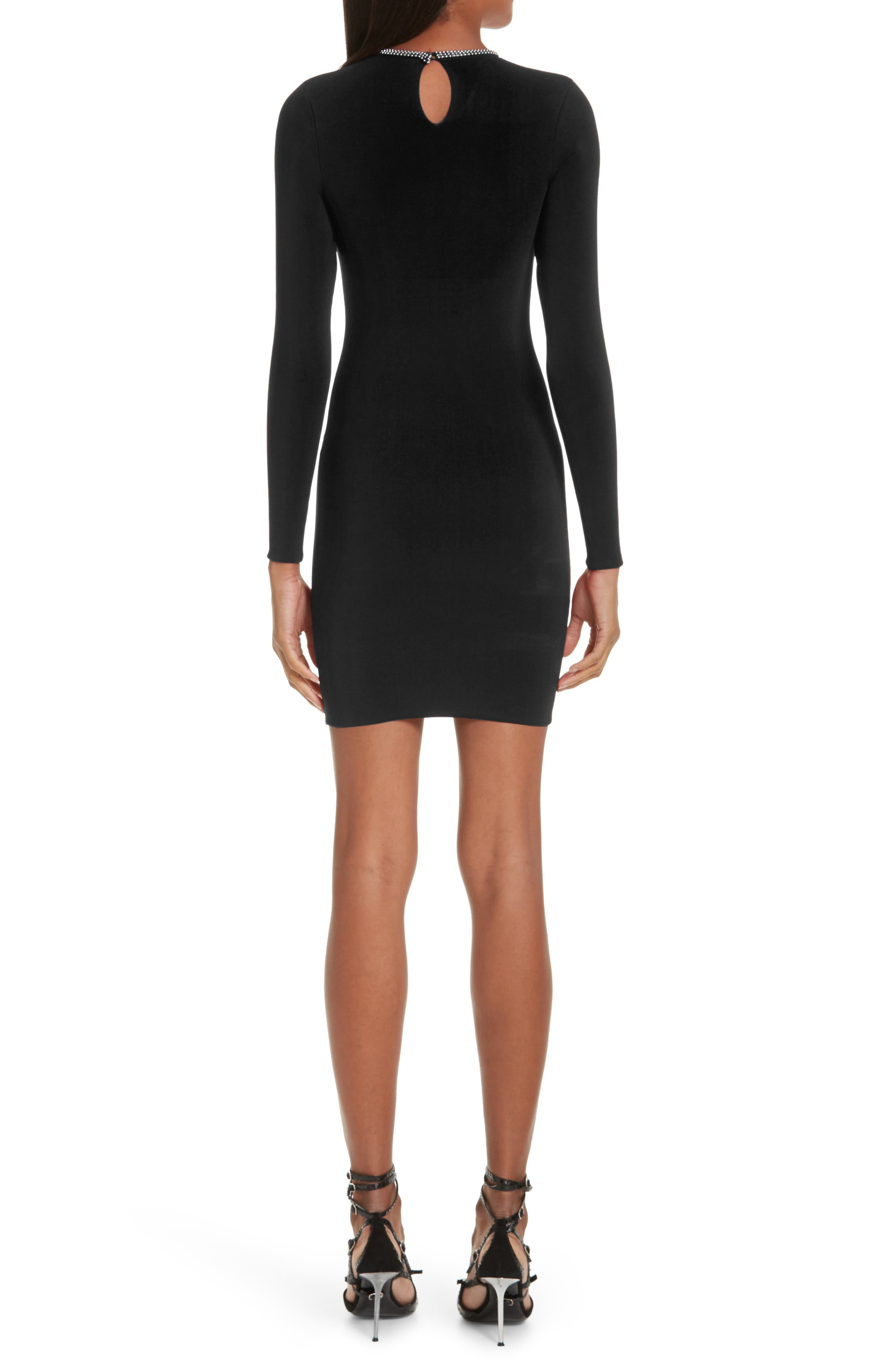 Ball Chain Trim Body-Con Dress,                             Alternate thumbnail 2, color,                             BLACK