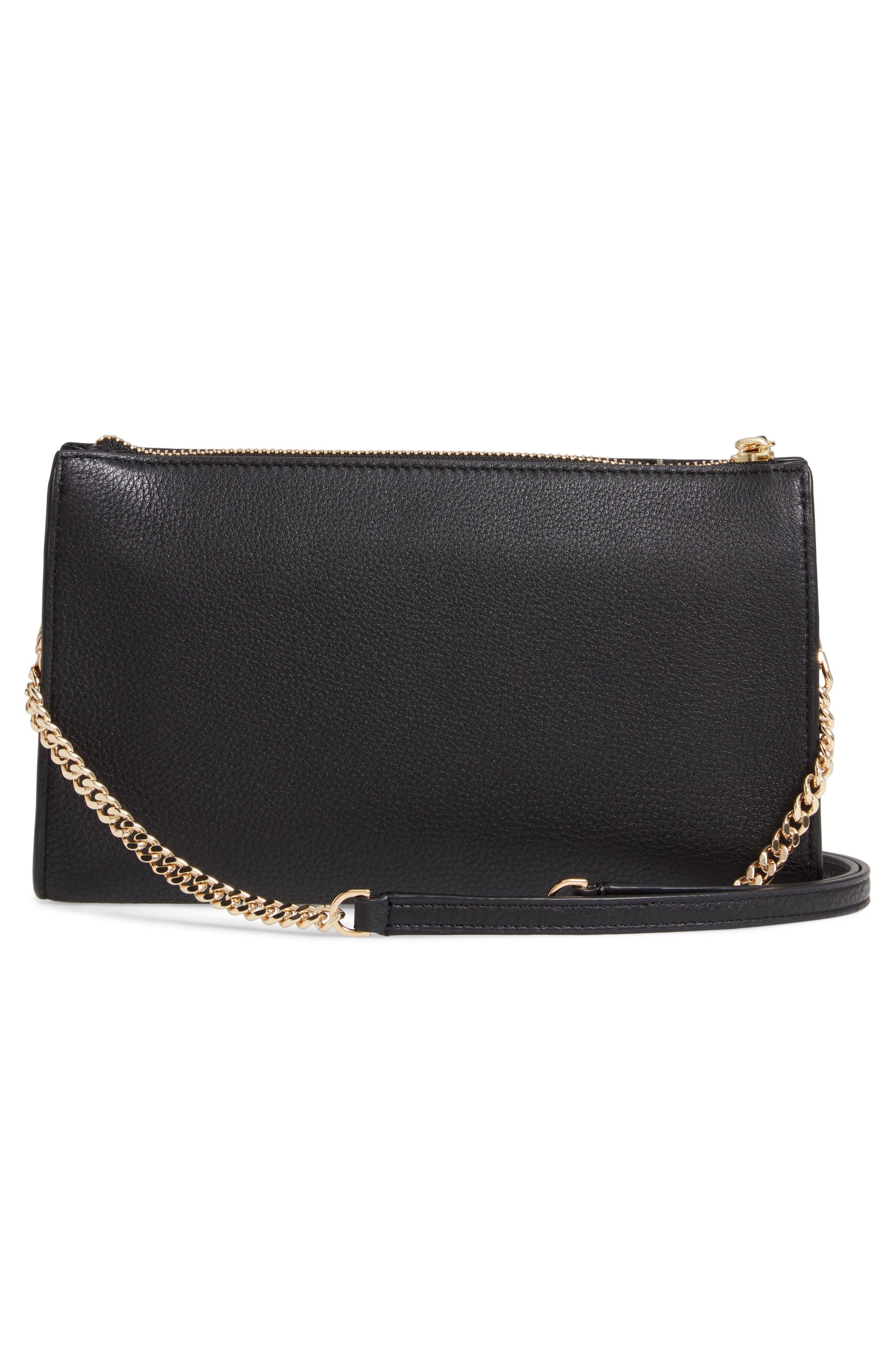 TORY BURCH,                             Pebbled Leather Top Zip Crossbody Bag,                             Alternate thumbnail 3, color,                             BLACK
