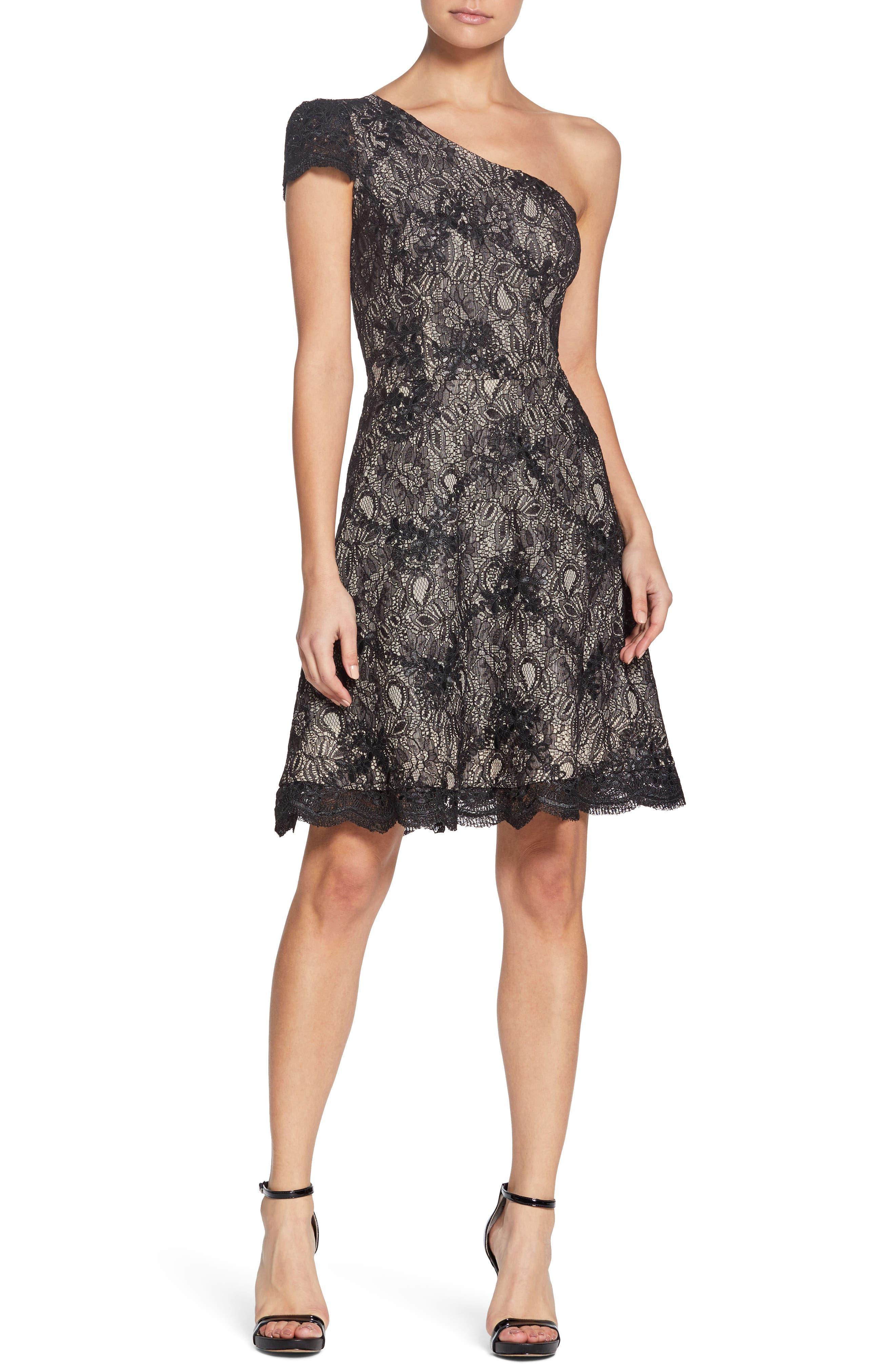 Alex One-Shoulder Cocktail Dress,                         Main,                         color, BLACK/ NUDE