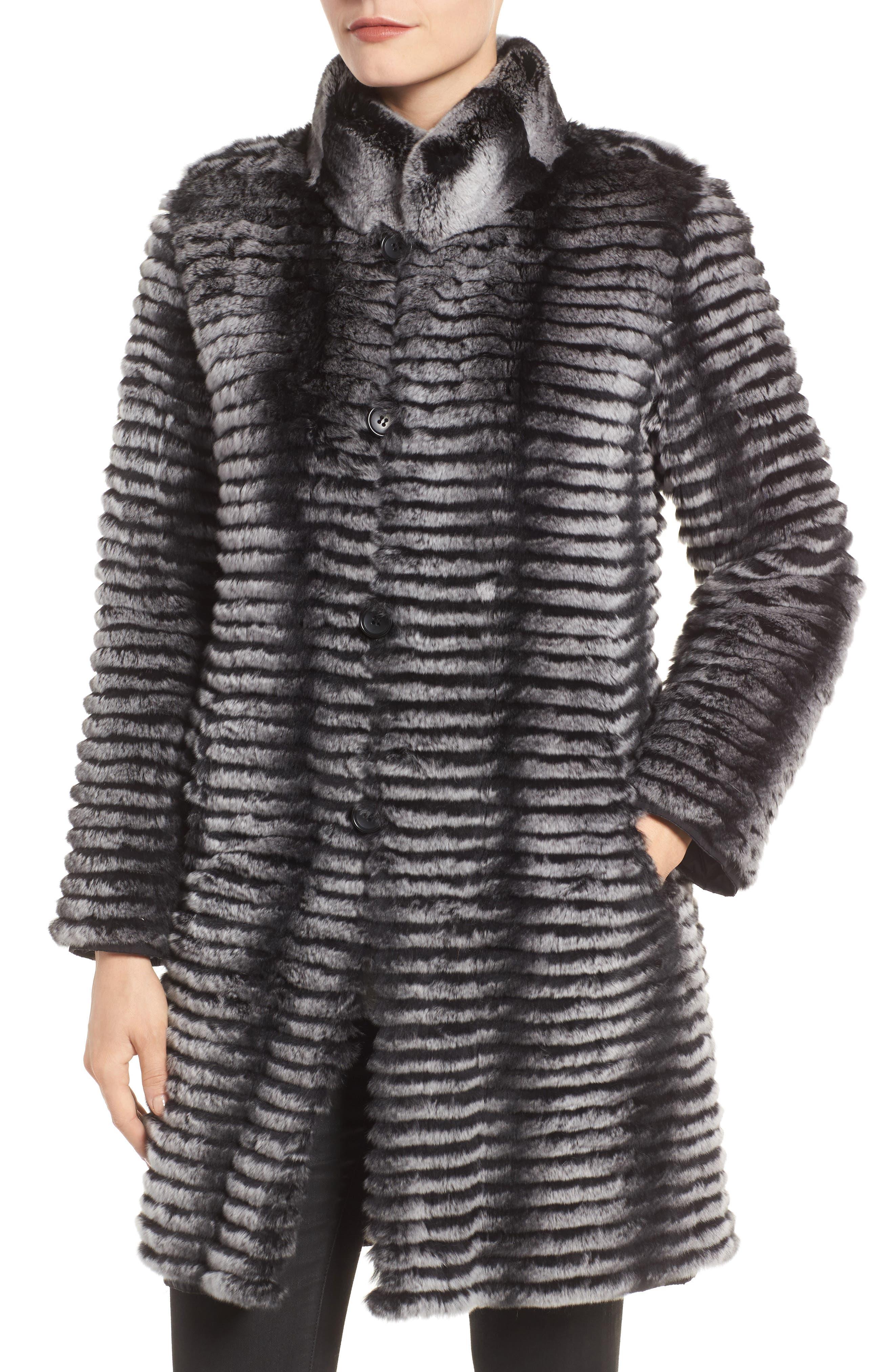Reversible Genuine Rabbit Fur & Down Coat,                             Alternate thumbnail 4, color,                             BLACK