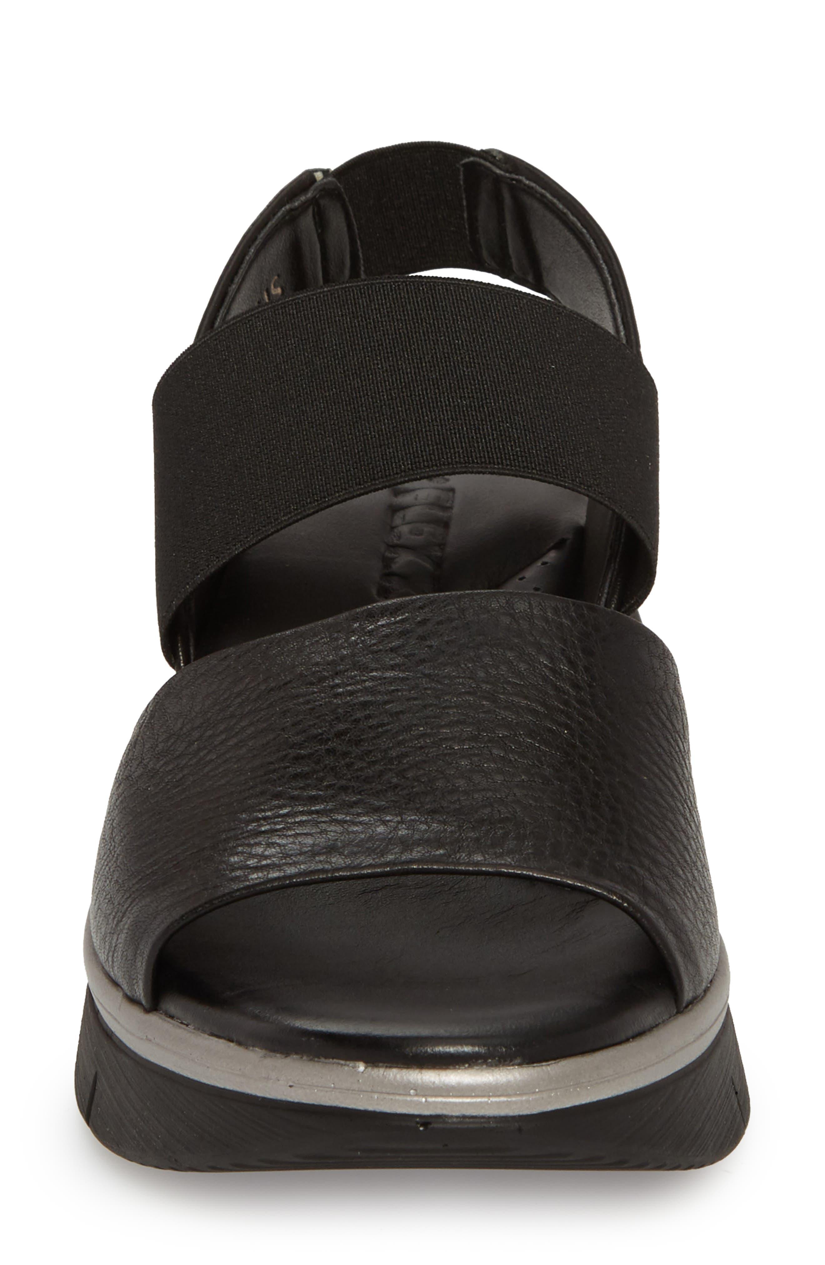 Cushy Sandal,                             Alternate thumbnail 4, color,                             BLACK LEATHER
