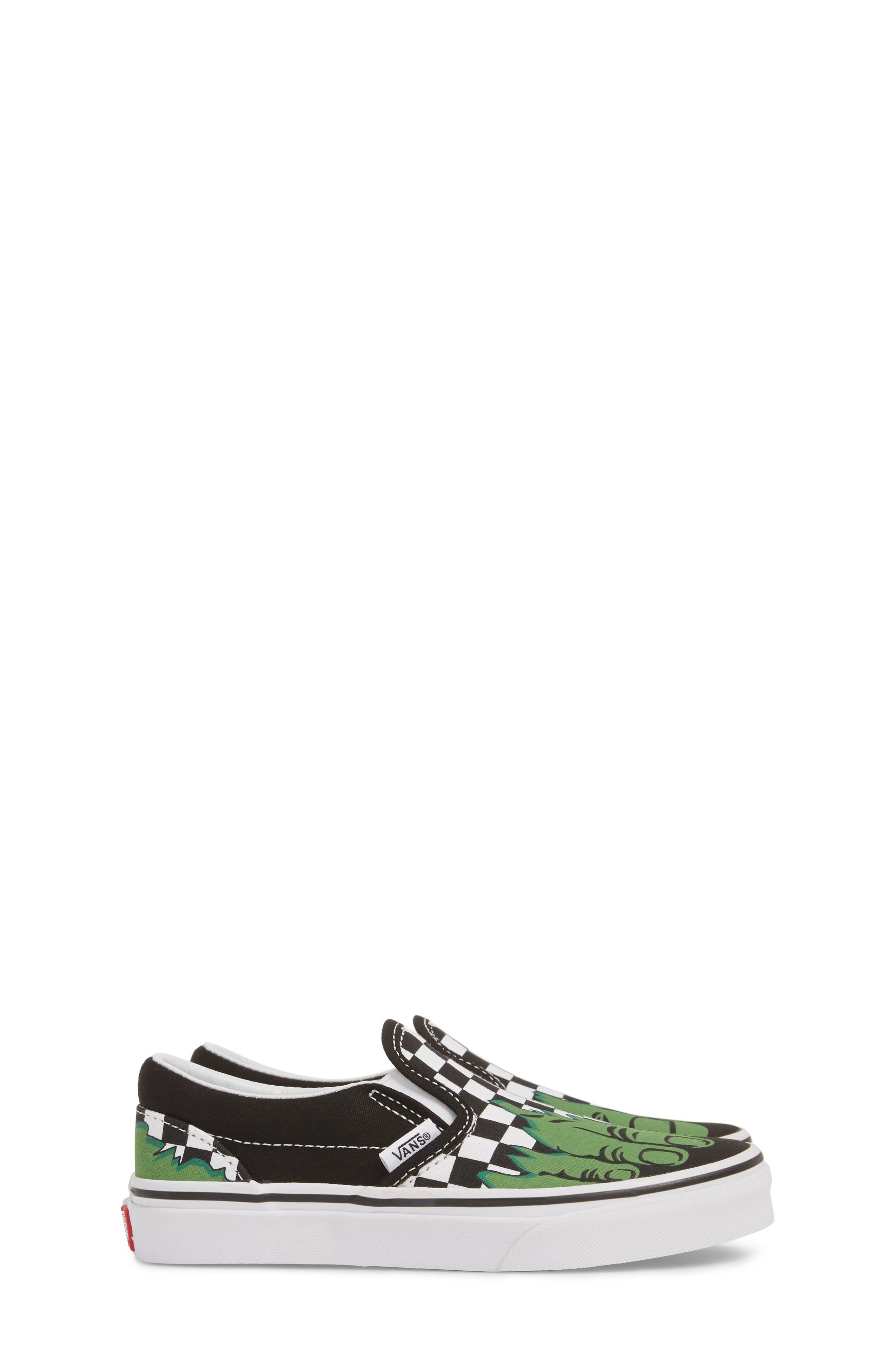 x Marvel<sup>®</sup> Hulk Checkerboard Slip-On Sneaker,                             Alternate thumbnail 4, color,                             310