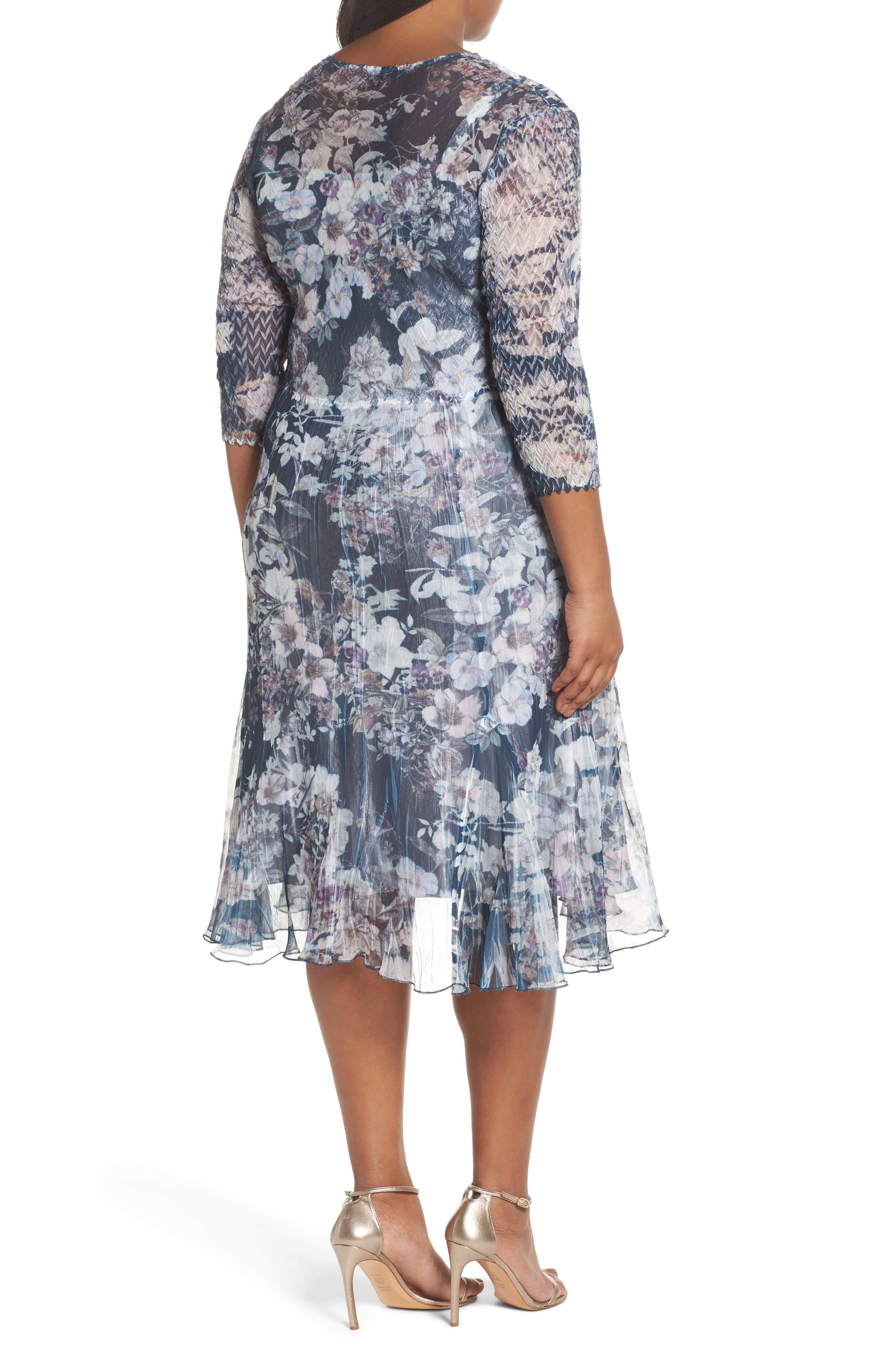 Floral Print V-Neck Dress,                             Alternate thumbnail 2, color,                             404