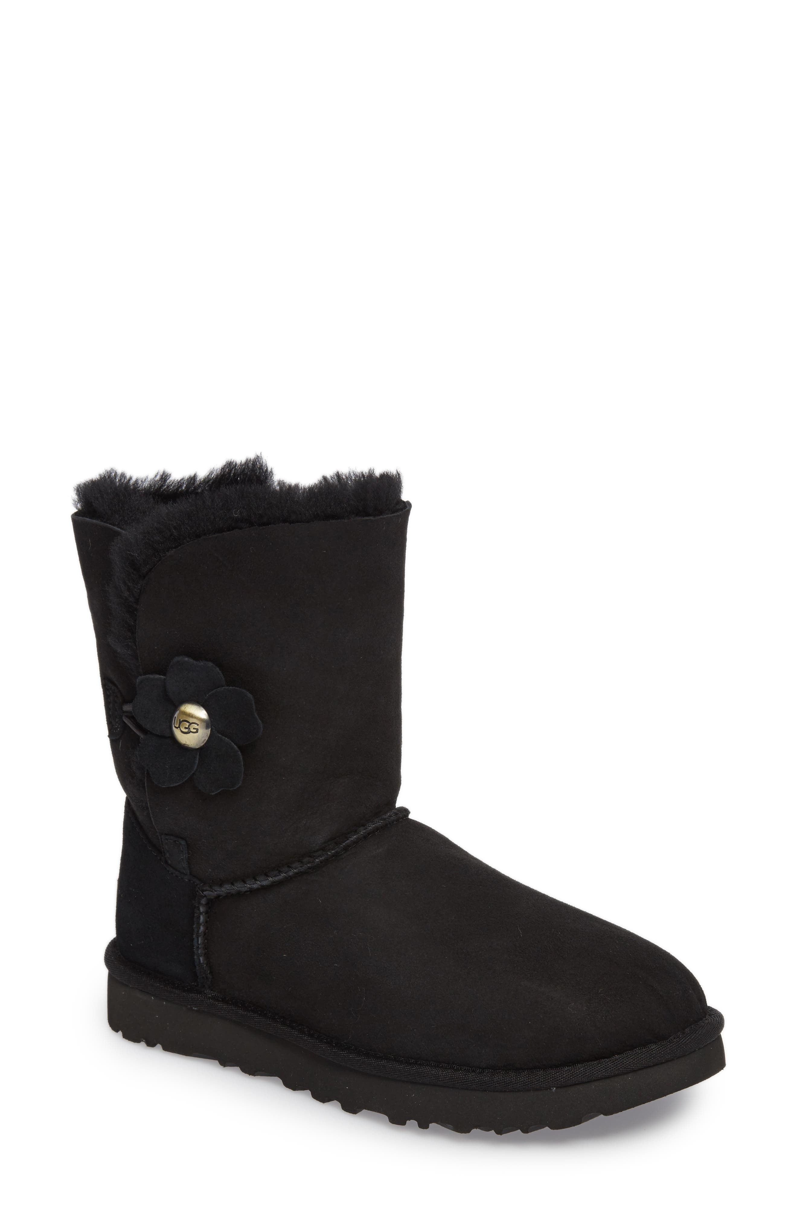 Bailey Button Poppy Genuine Shearling Boot,                             Main thumbnail 1, color,                             001