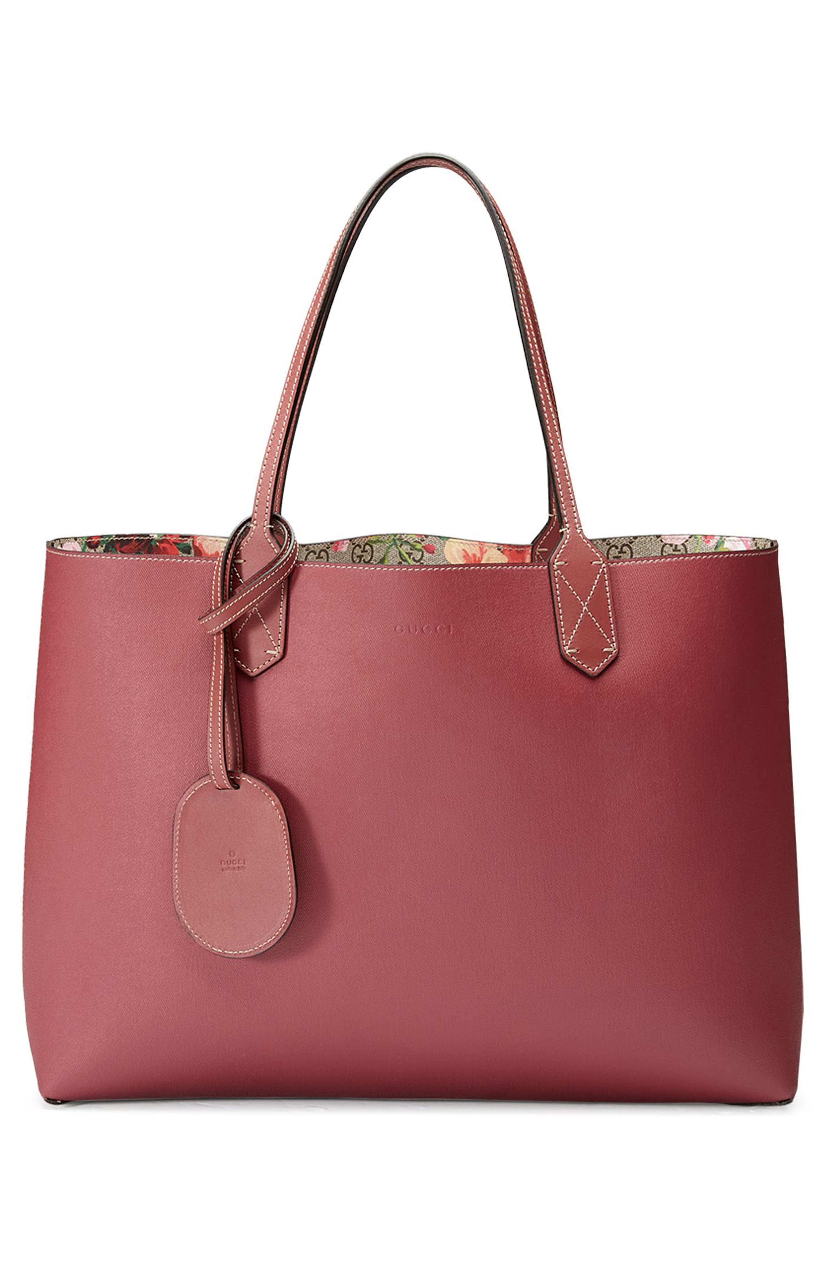 GUCCI,                             Medium GG Blooms Reversible Canvas & Leather Tote,                             Alternate thumbnail 2, color,                             291