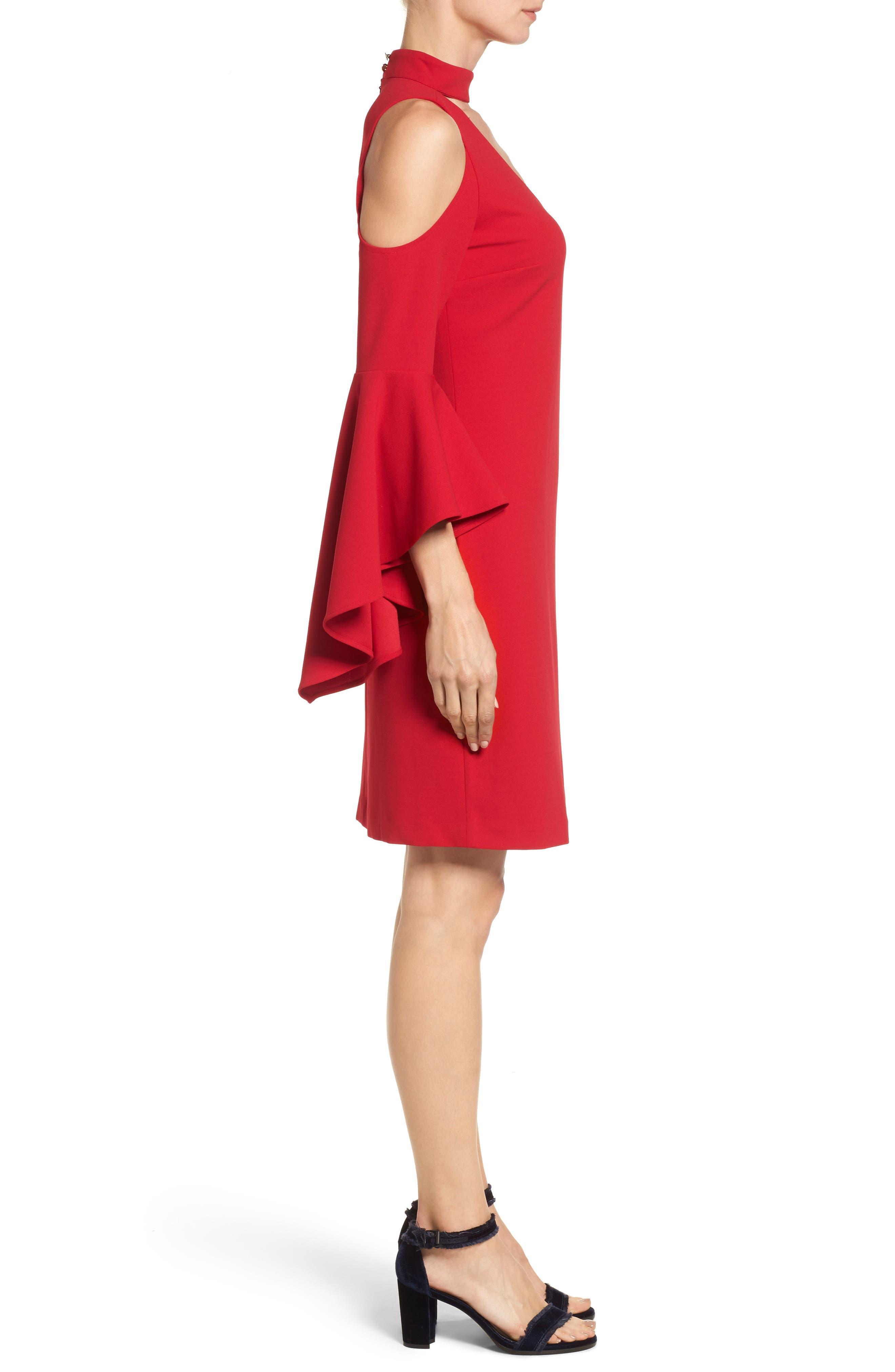 Cold Shoulder Bell Sleeve Dress,                             Alternate thumbnail 3, color,                             614