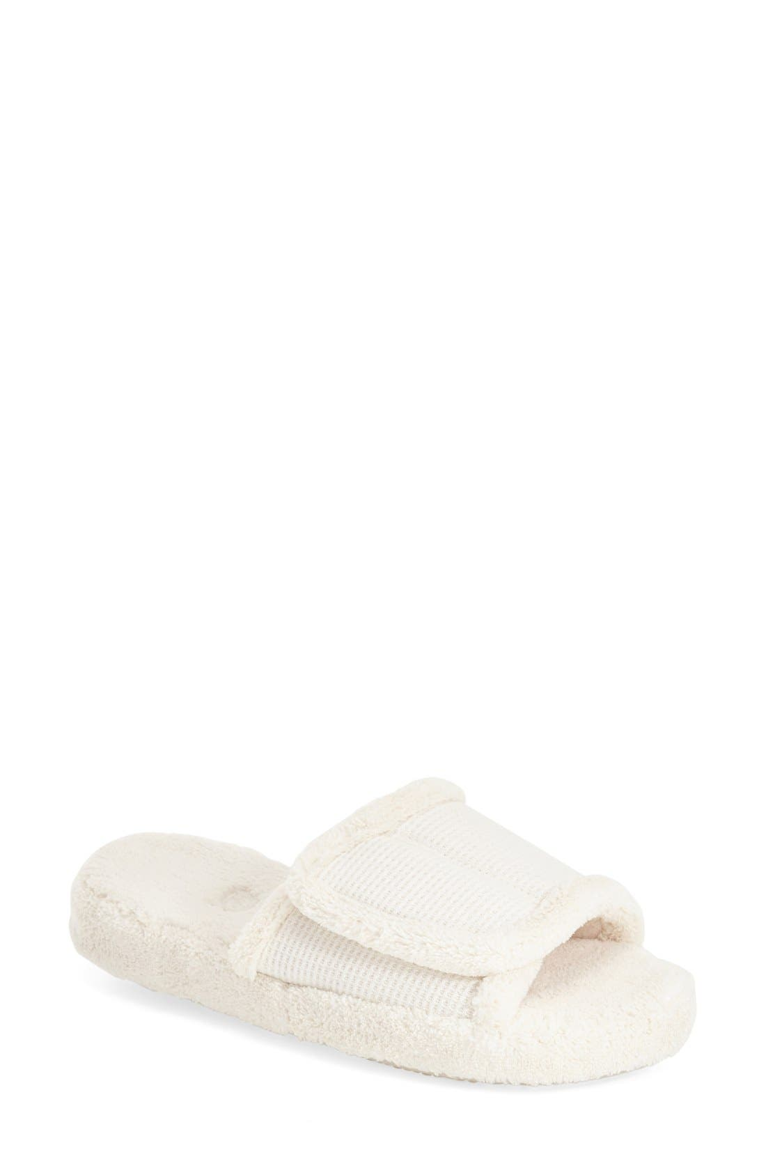'Waffle Spa Slide' Slipper,                             Main thumbnail 1, color,                             NATURAL