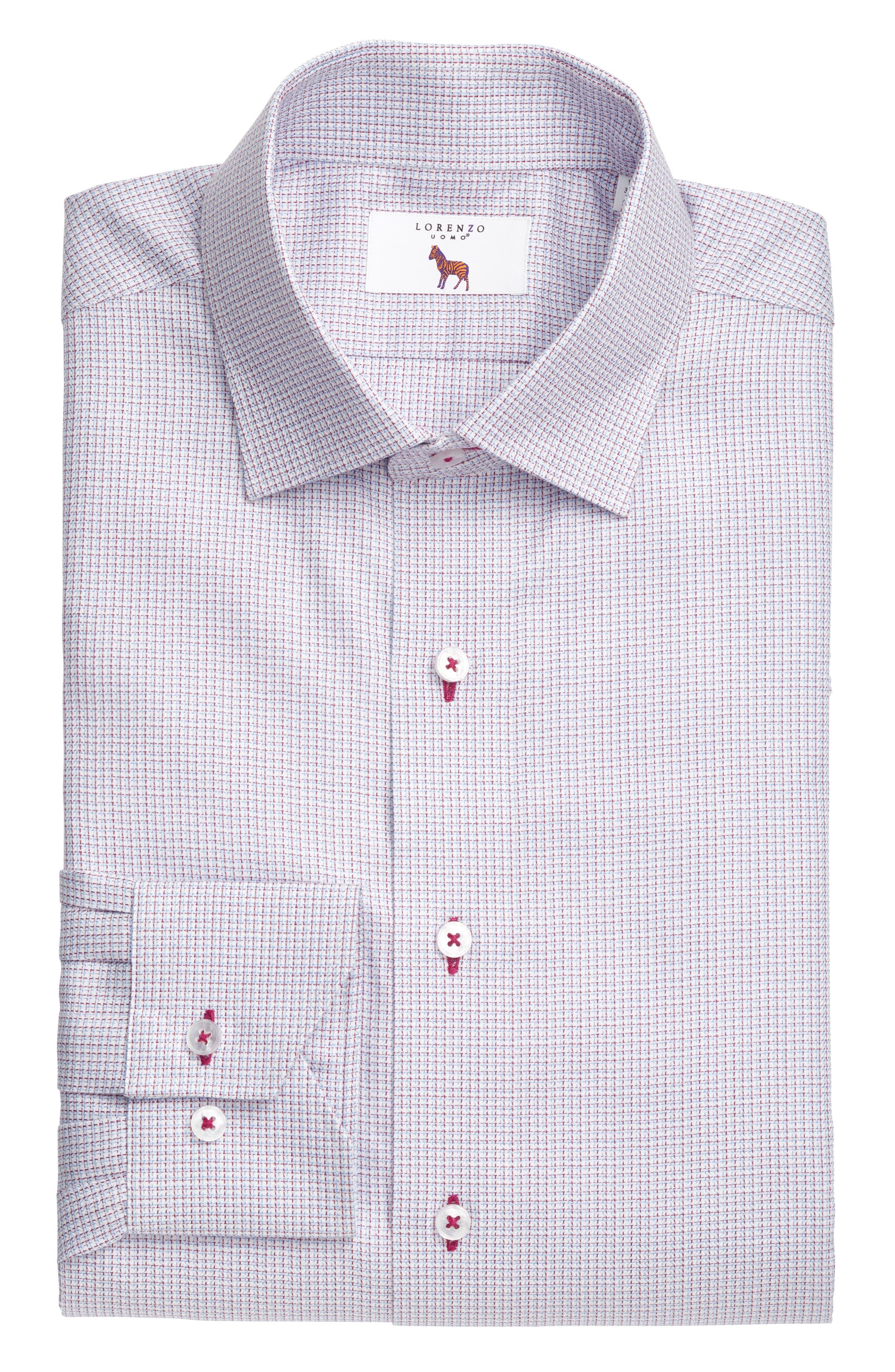 Trim Fit Textured Check Dress Shirt,                             Alternate thumbnail 3, color,                             450