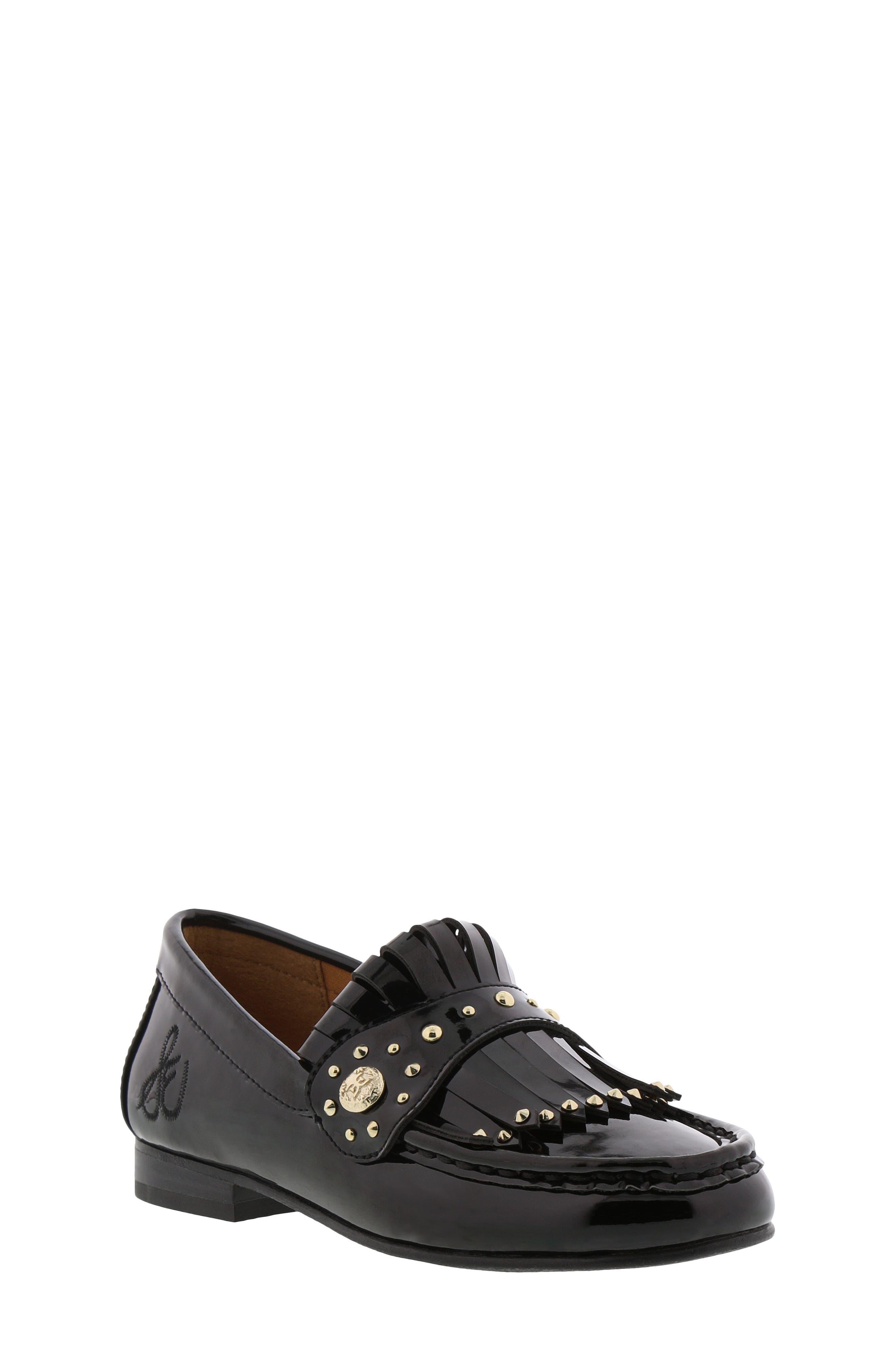 Gabriella Serona Studded Kiltie Loafer,                         Main,                         color, BLACK