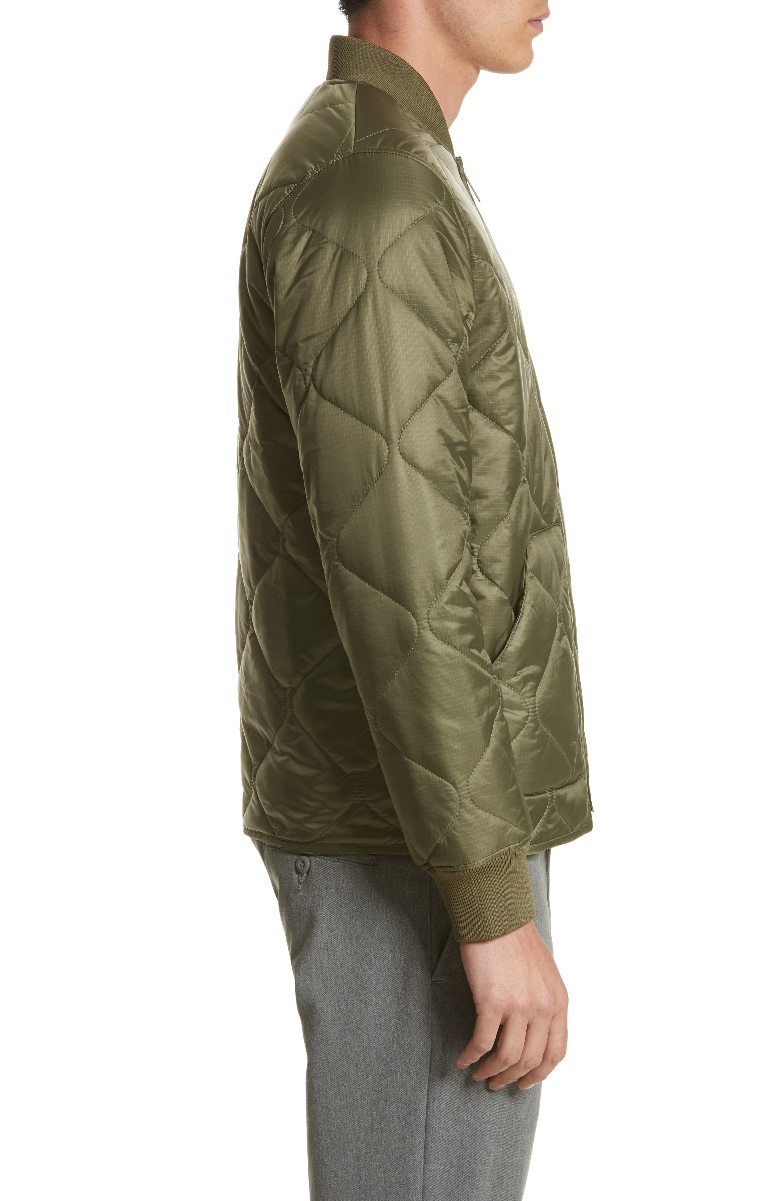 Quilted Ripstop Bomber Jacket,                             Alternate thumbnail 3, color,                             312