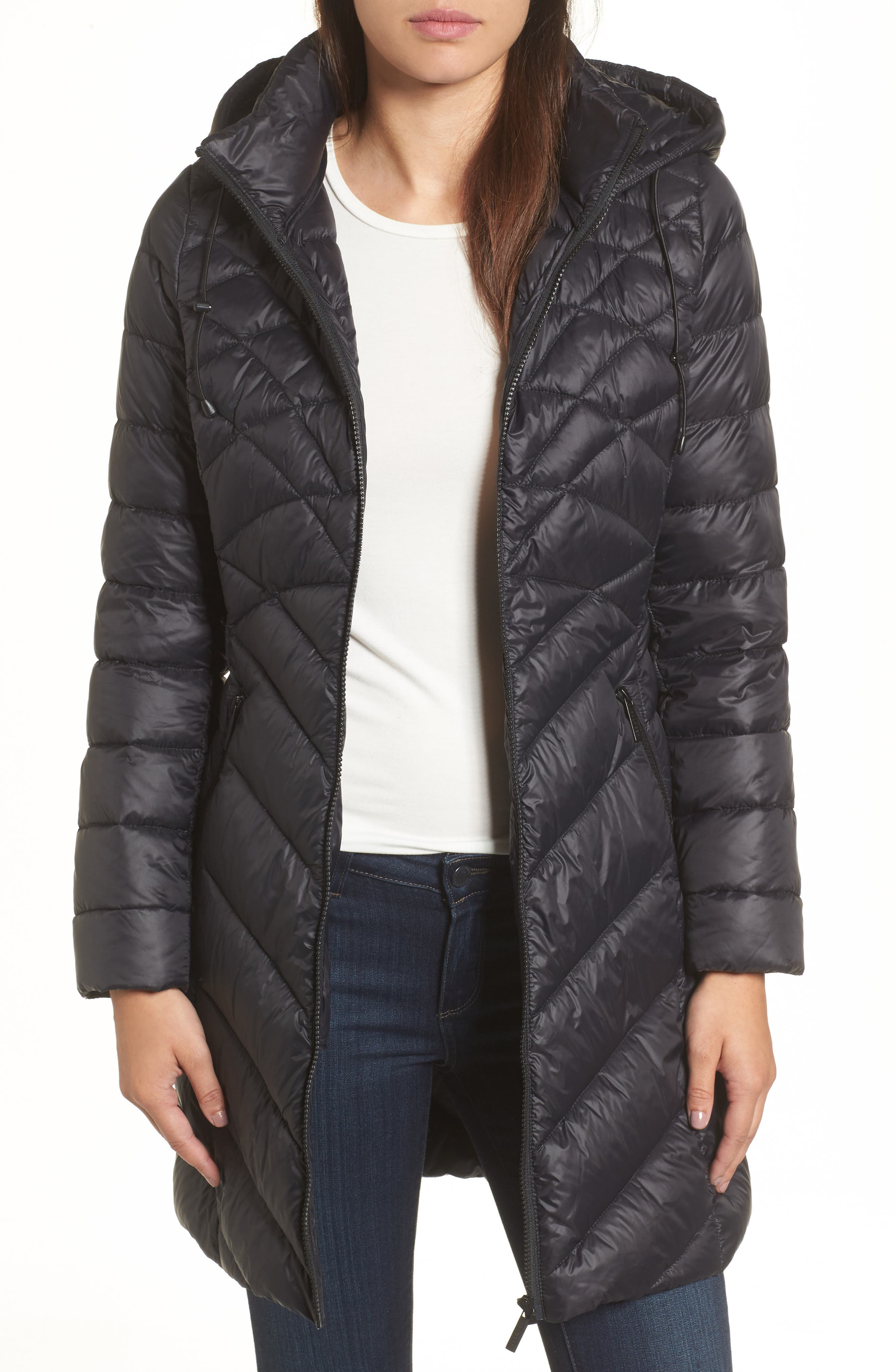 Hooded Down Puffer Jacket,                             Main thumbnail 1, color,                             001