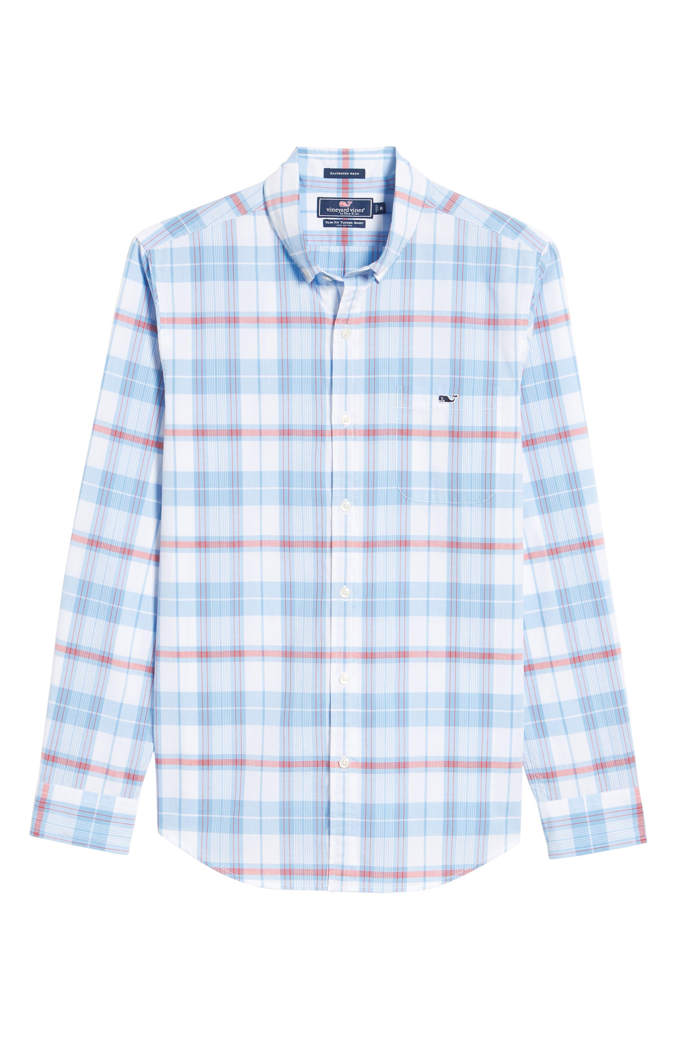 Cape Poge Tucker Slim Fit Plaid Sport Shirt,                             Alternate thumbnail 6, color,                             447