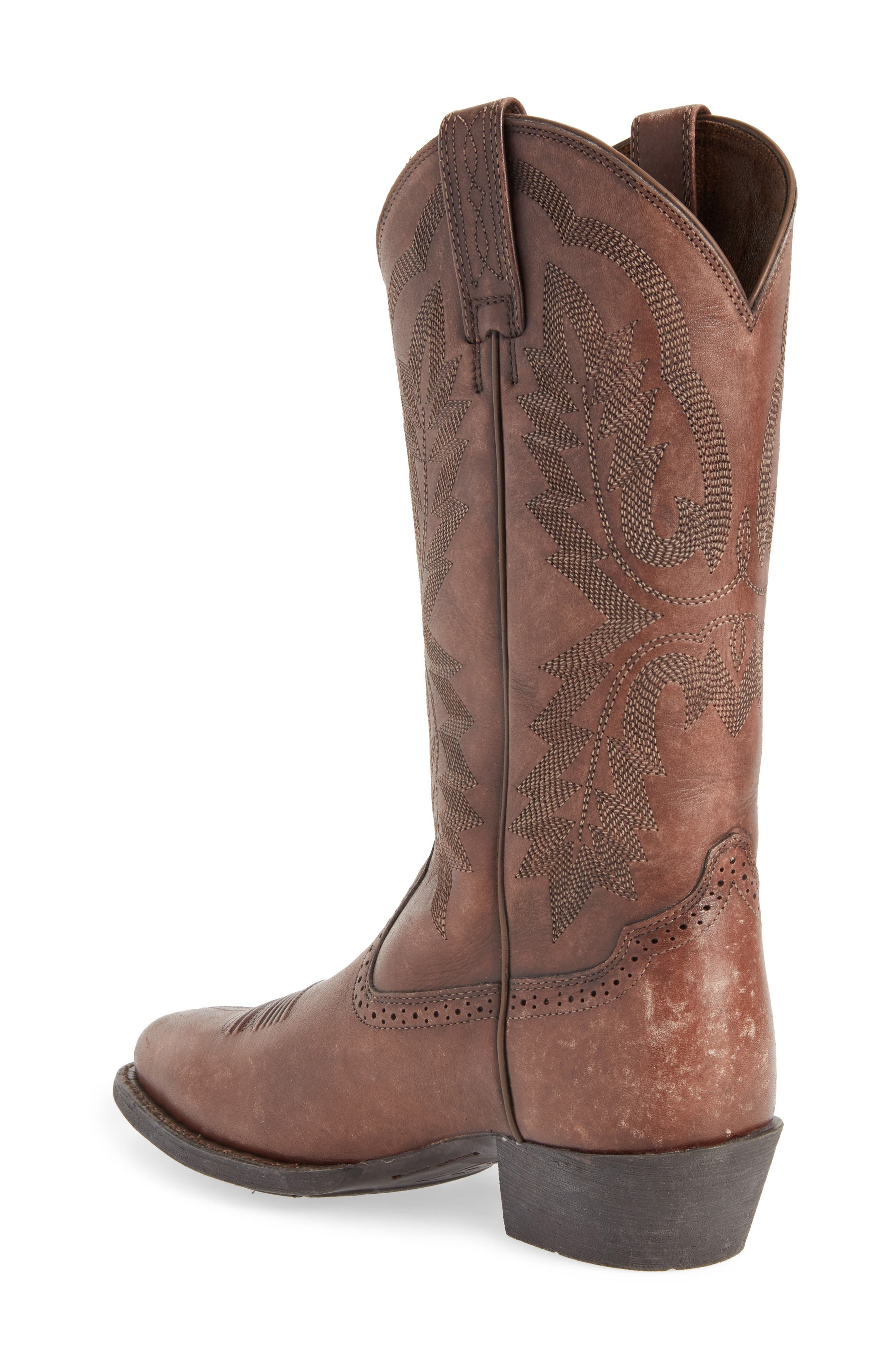 Heritage Calhoun Western R-Toe Boot,                             Alternate thumbnail 2, color,                             NATURAL BROWN LEATHER