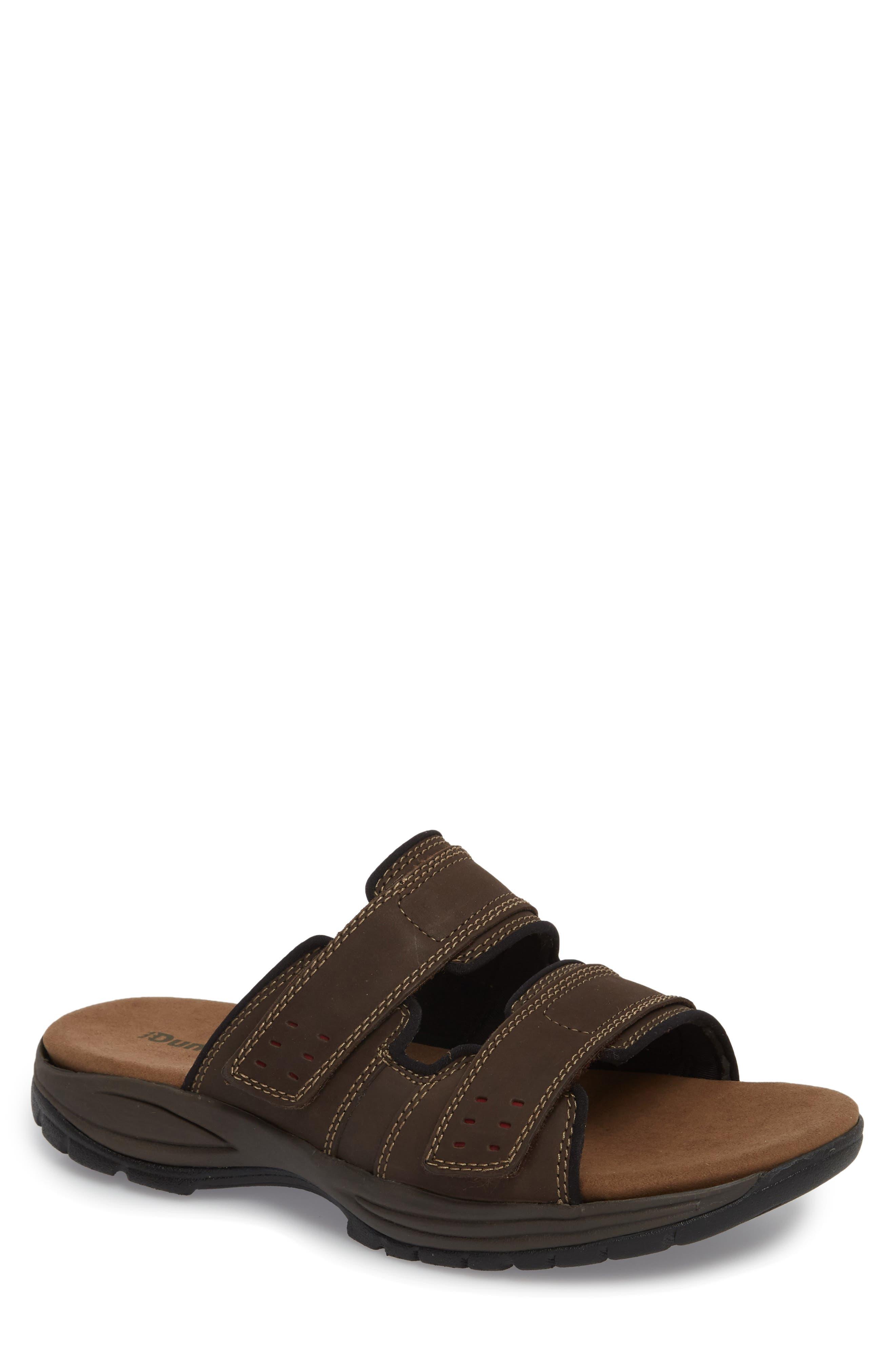Newport Slide Sandal,                         Main,                         color, DARK BROWN LEATHER
