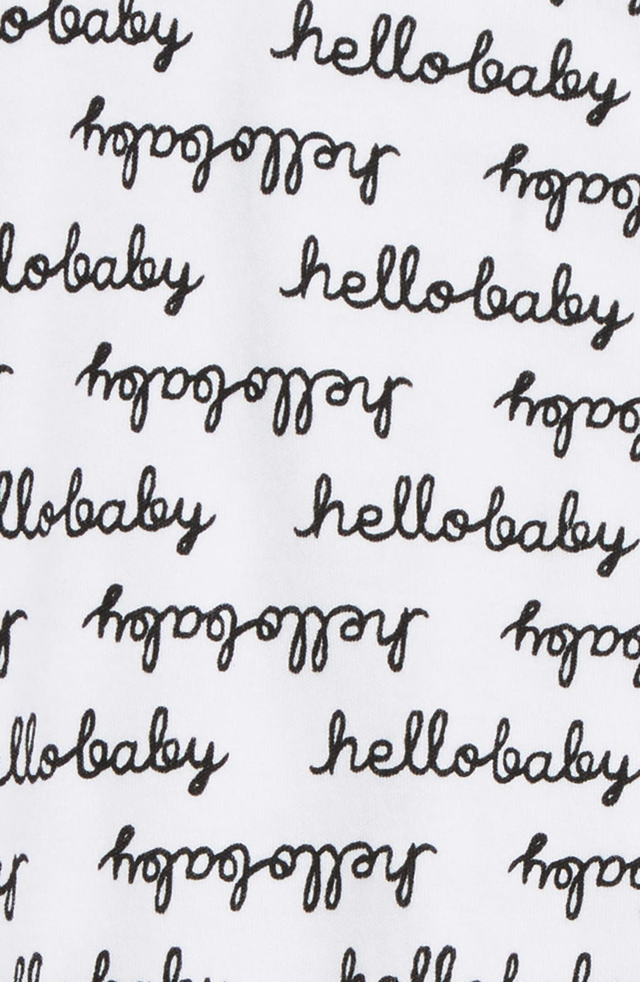 NORDSTROM BABY,                             Print Footie,                             Alternate thumbnail 2, color,                             WHITE- BLACK HELLO BABY
