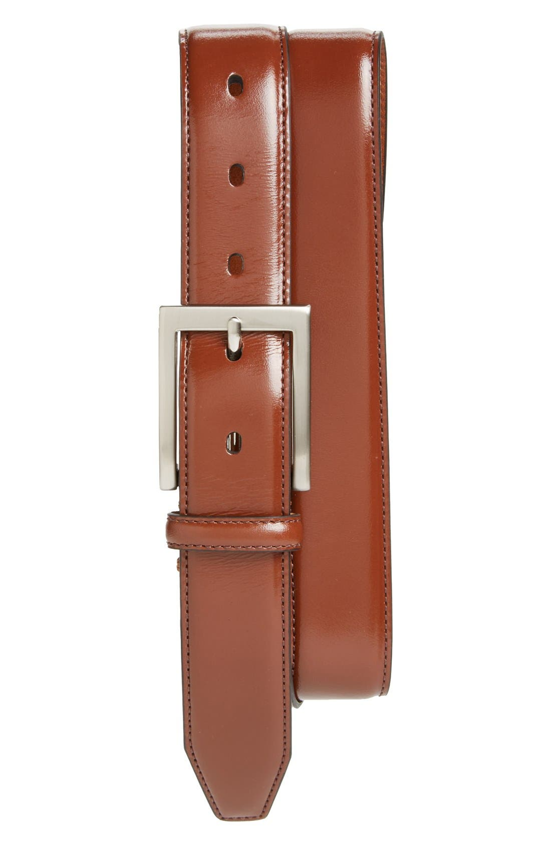 Johnston & Murphy Calfskin Belt, Saddle Tan
