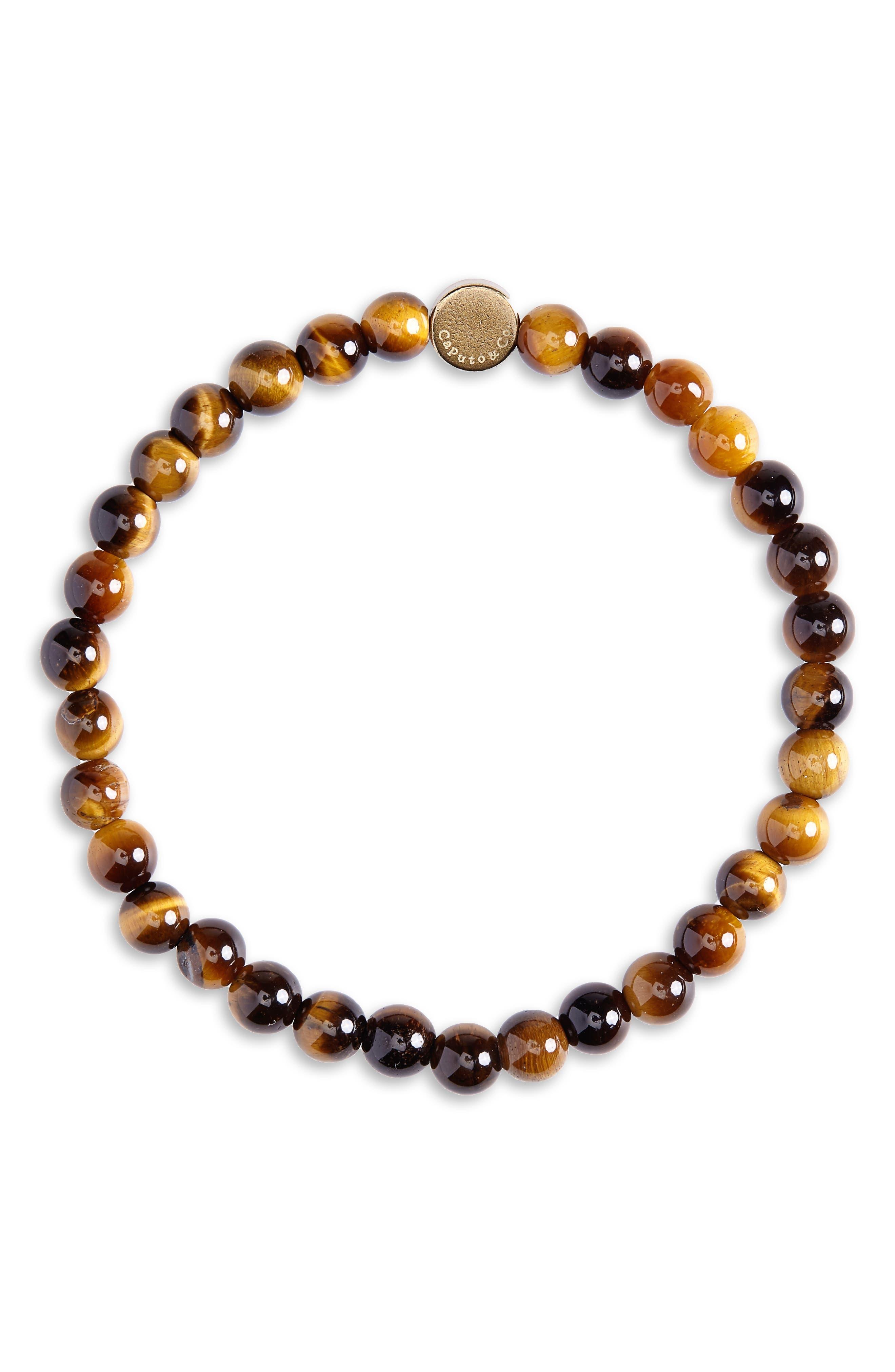 CAPUTO & CO. Stone Bead Bracelet in Yellow Tiger Eye
