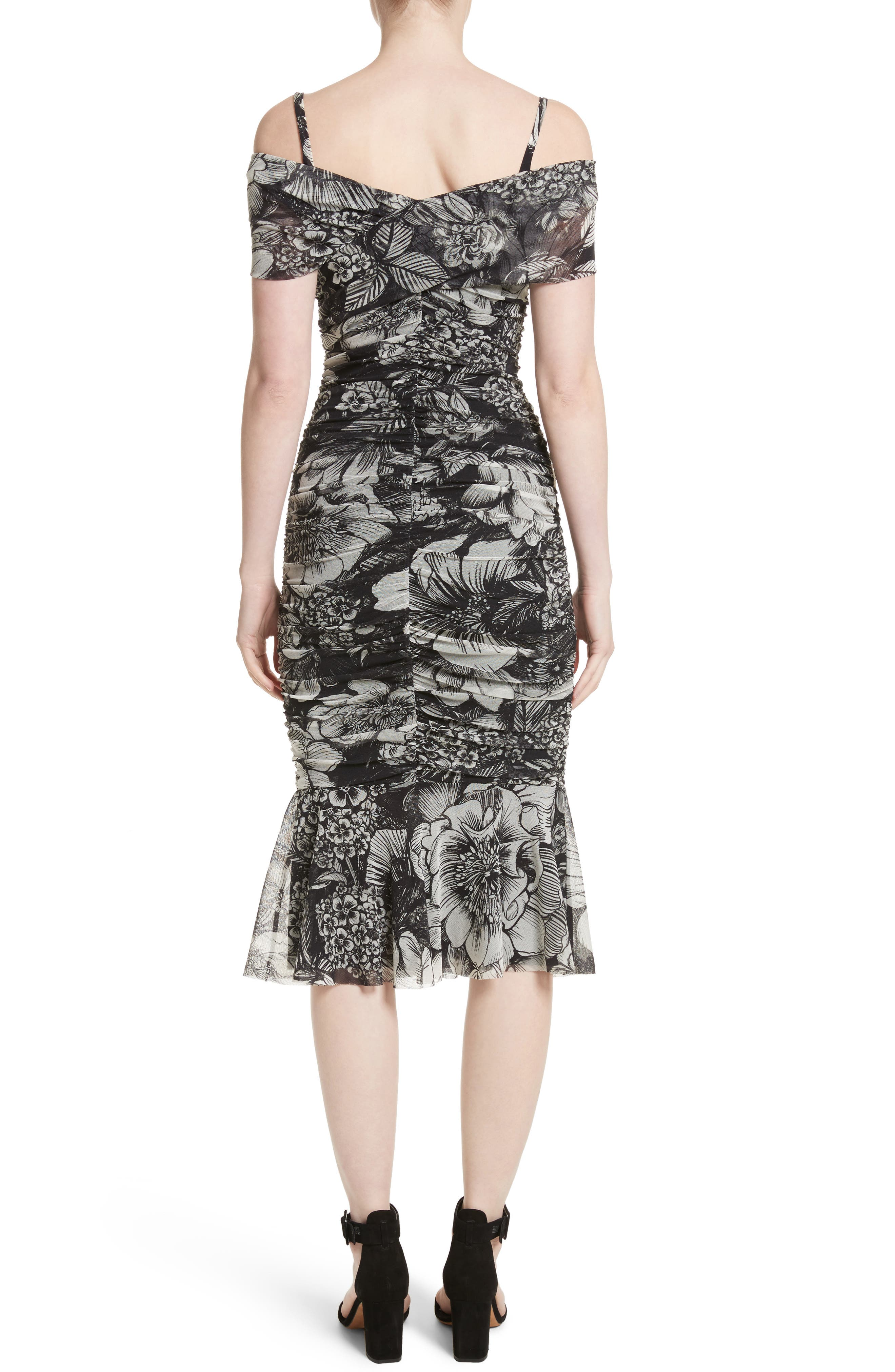 Print Tulle Ruched Off the Shoulder Dress,                             Alternate thumbnail 2, color,                             001
