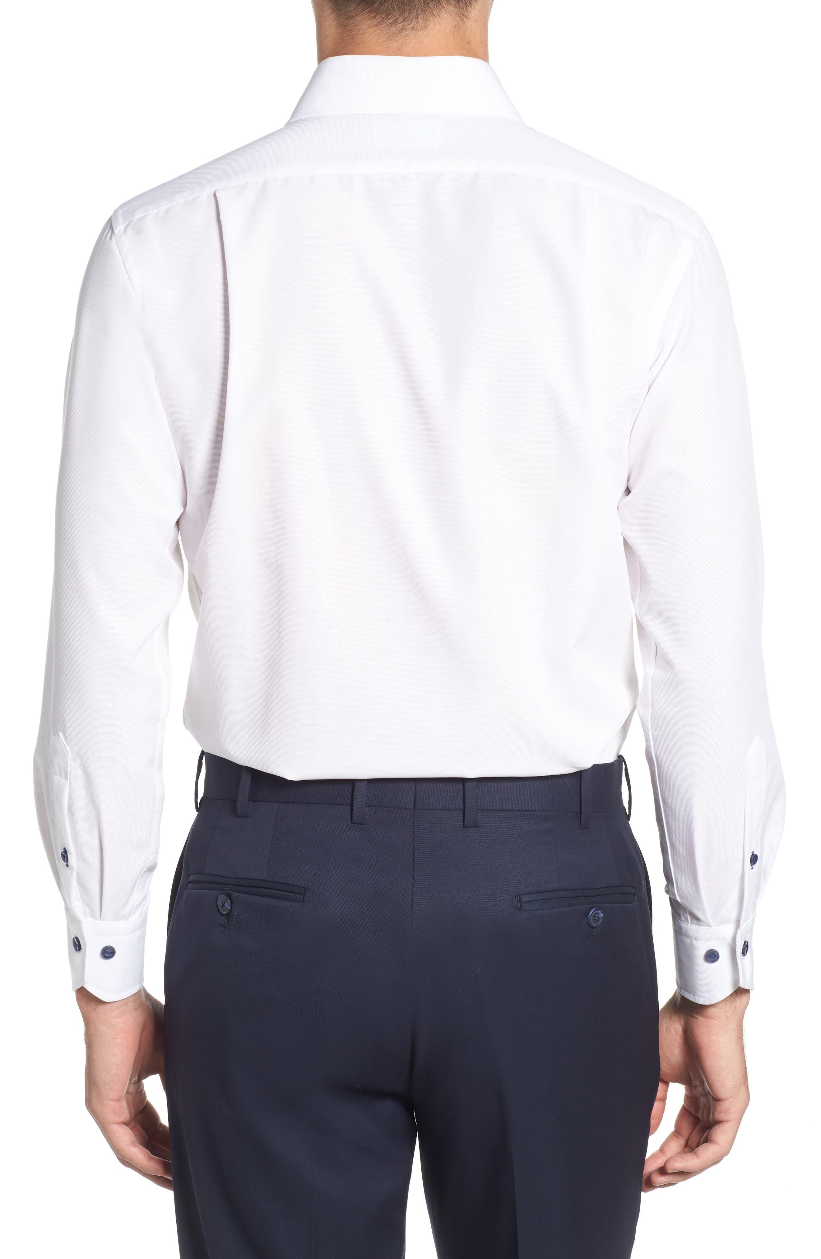 Trim Fit Solid Dress Shirt,                             Alternate thumbnail 3, color,                             100