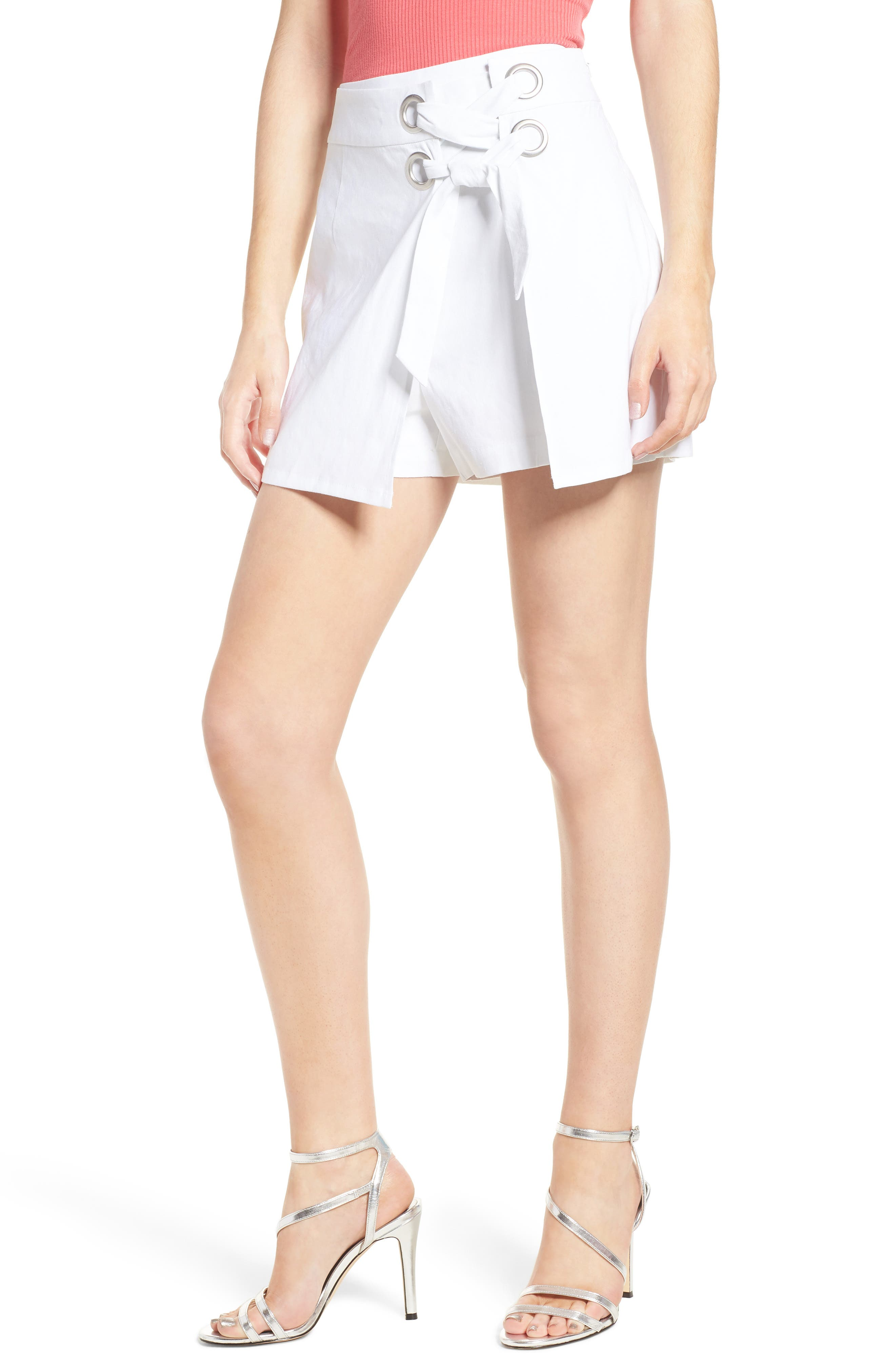 Lace-Up Linen Blend Skort,                         Main,                         color, 100