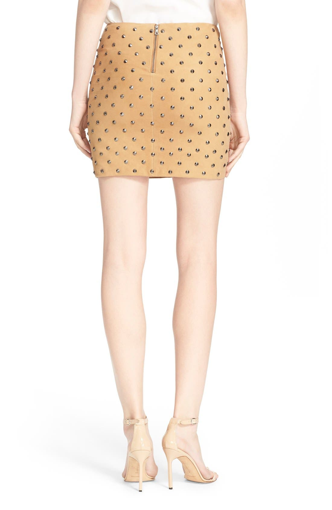 'Elana' Studded Suede Miniskirt,                             Alternate thumbnail 5, color,