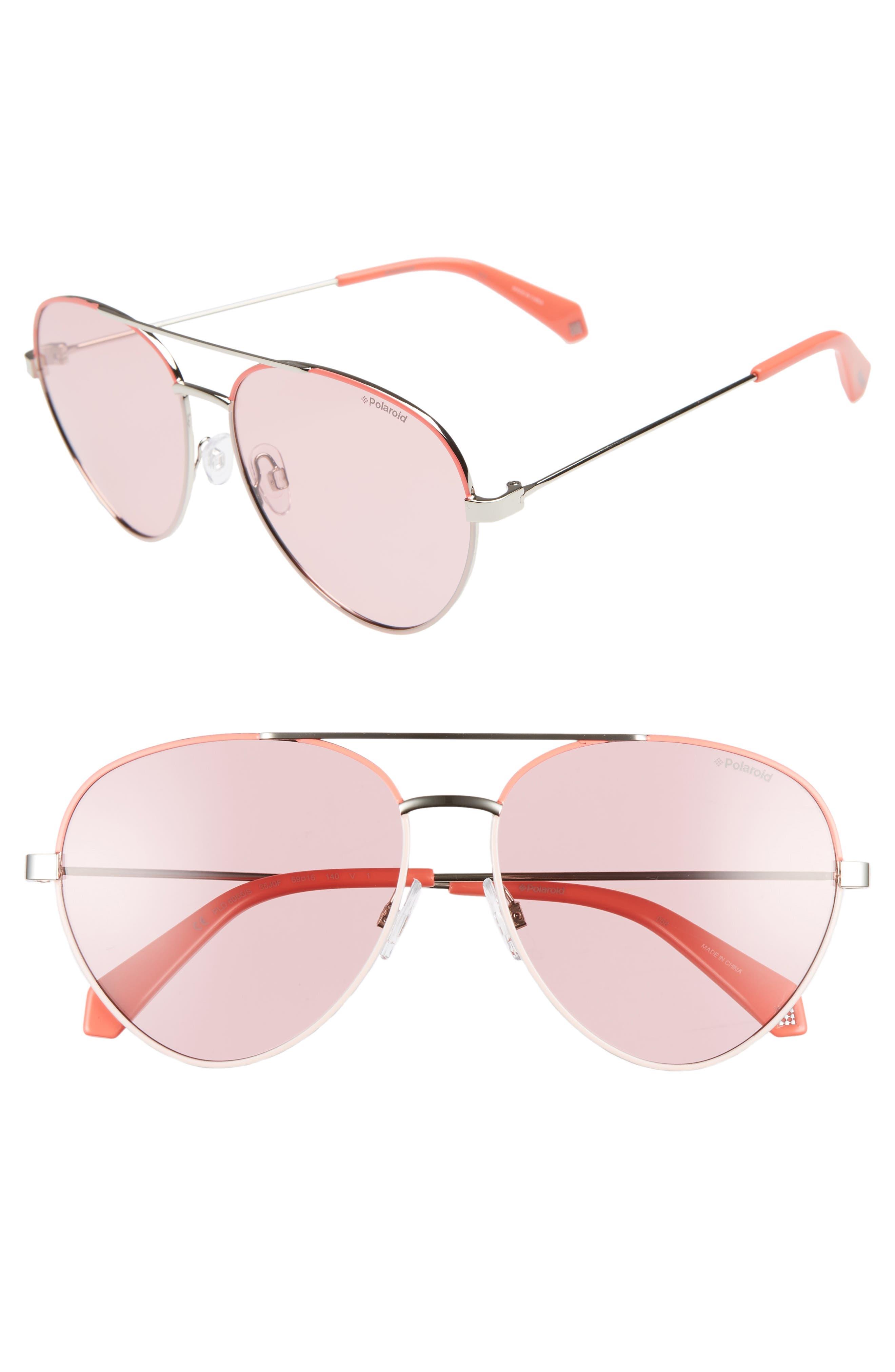 Polaroid 5m Polarized Aviator Sunglasses - Pink