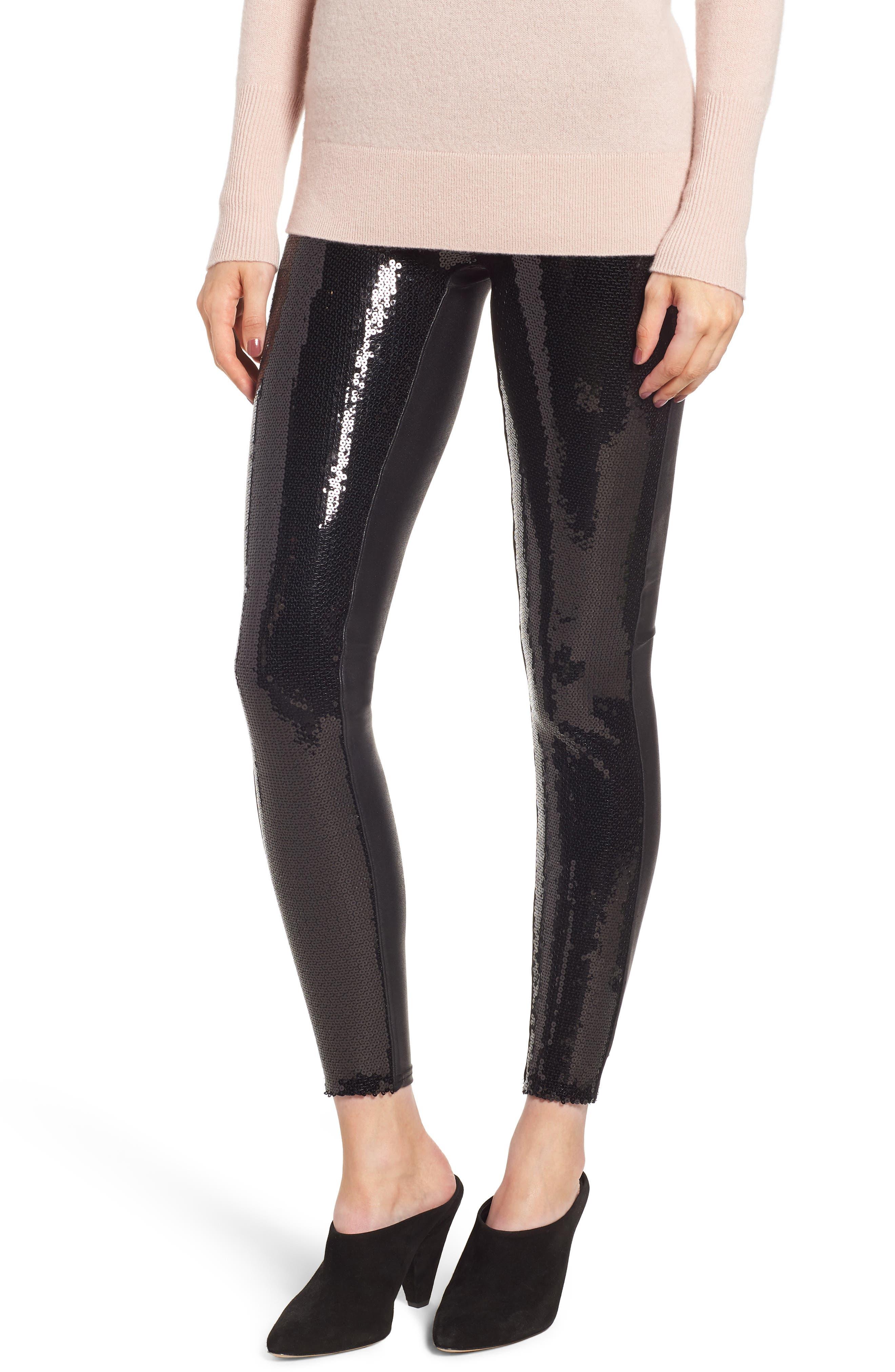 Sequin Faux Leather Leggings,                             Main thumbnail 1, color,                             BLACK SEQUIN
