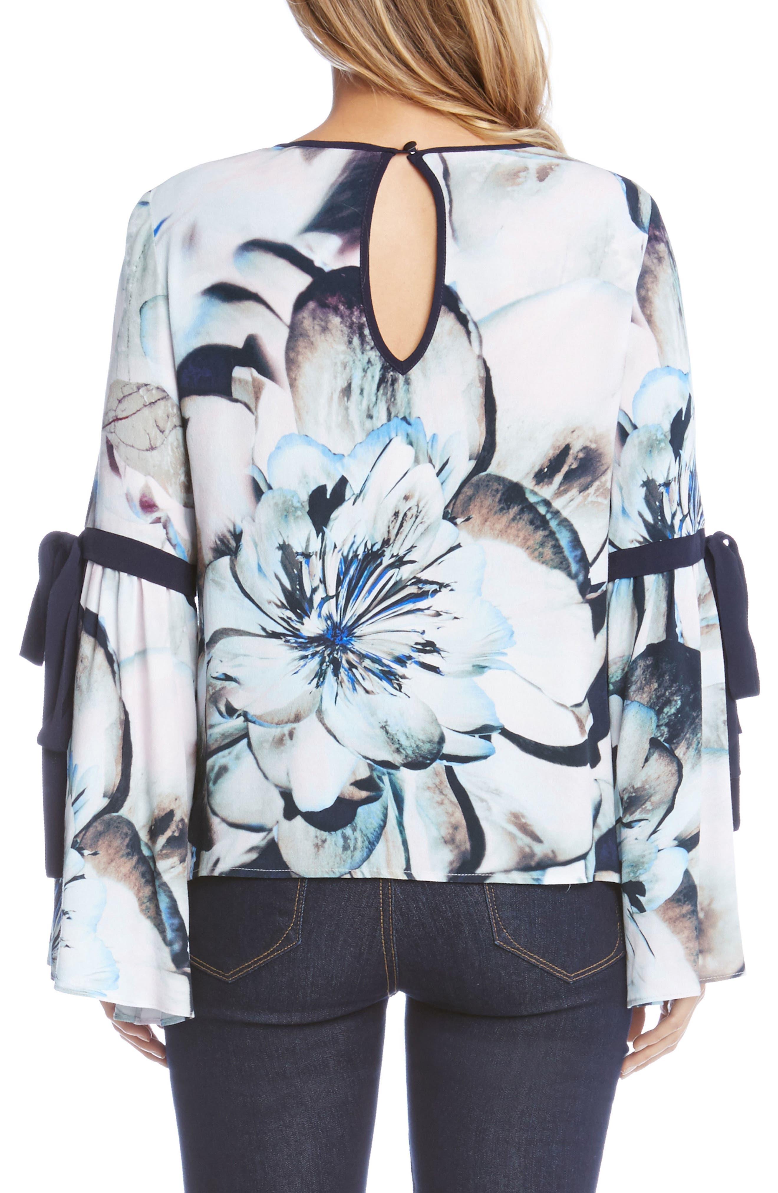 Tie Sleeve Floral Print Top,                             Alternate thumbnail 2, color,                             460
