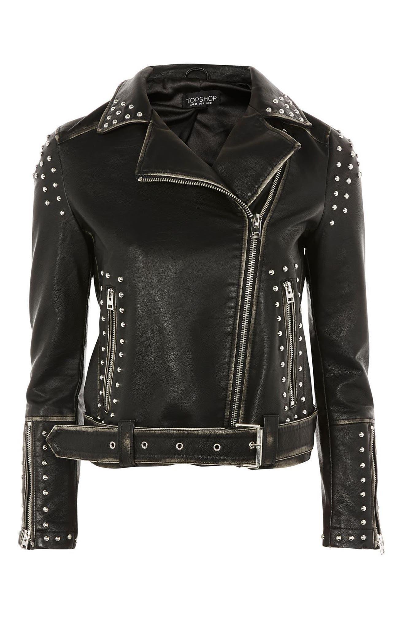 Naomi Studded Faux Leather Biker Jacket,                             Alternate thumbnail 4, color,                             001